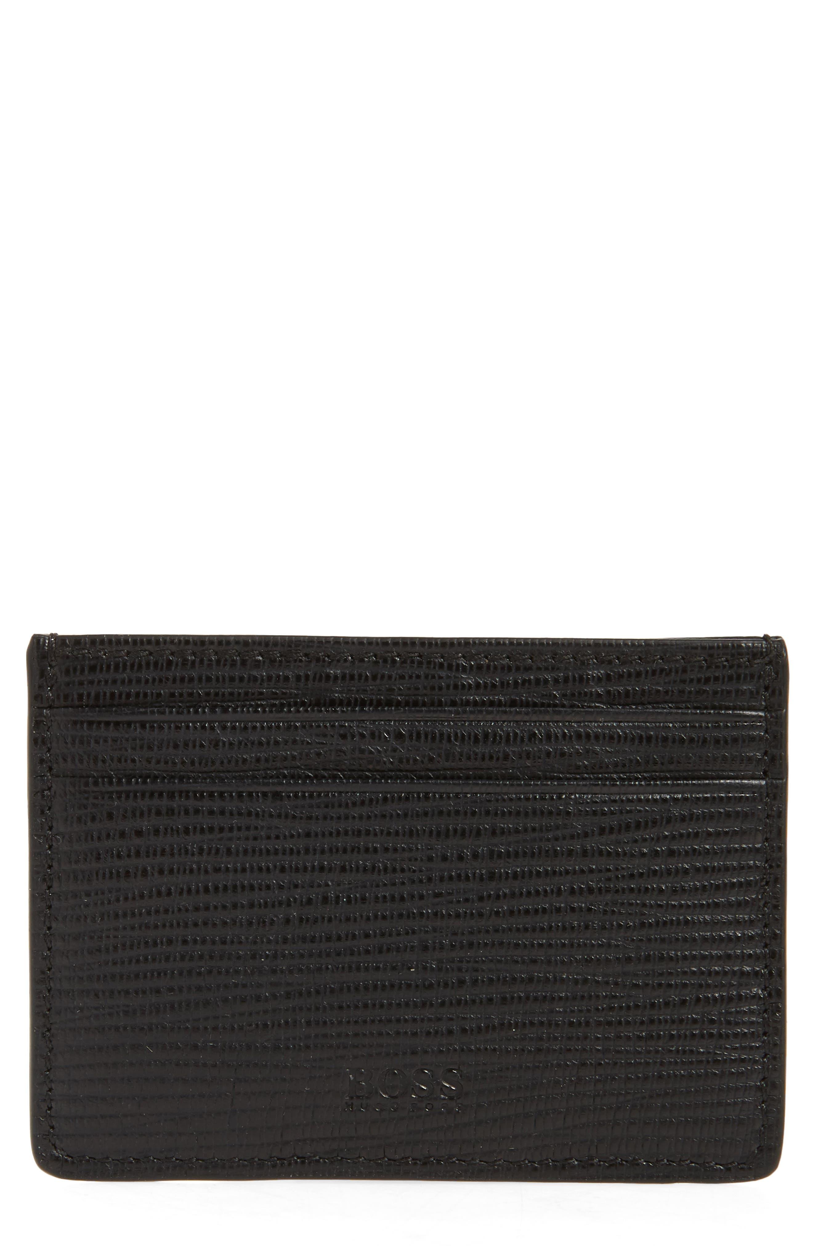 Timeless Leather Money Clip Card Case,                             Main thumbnail 1, color,                             Black