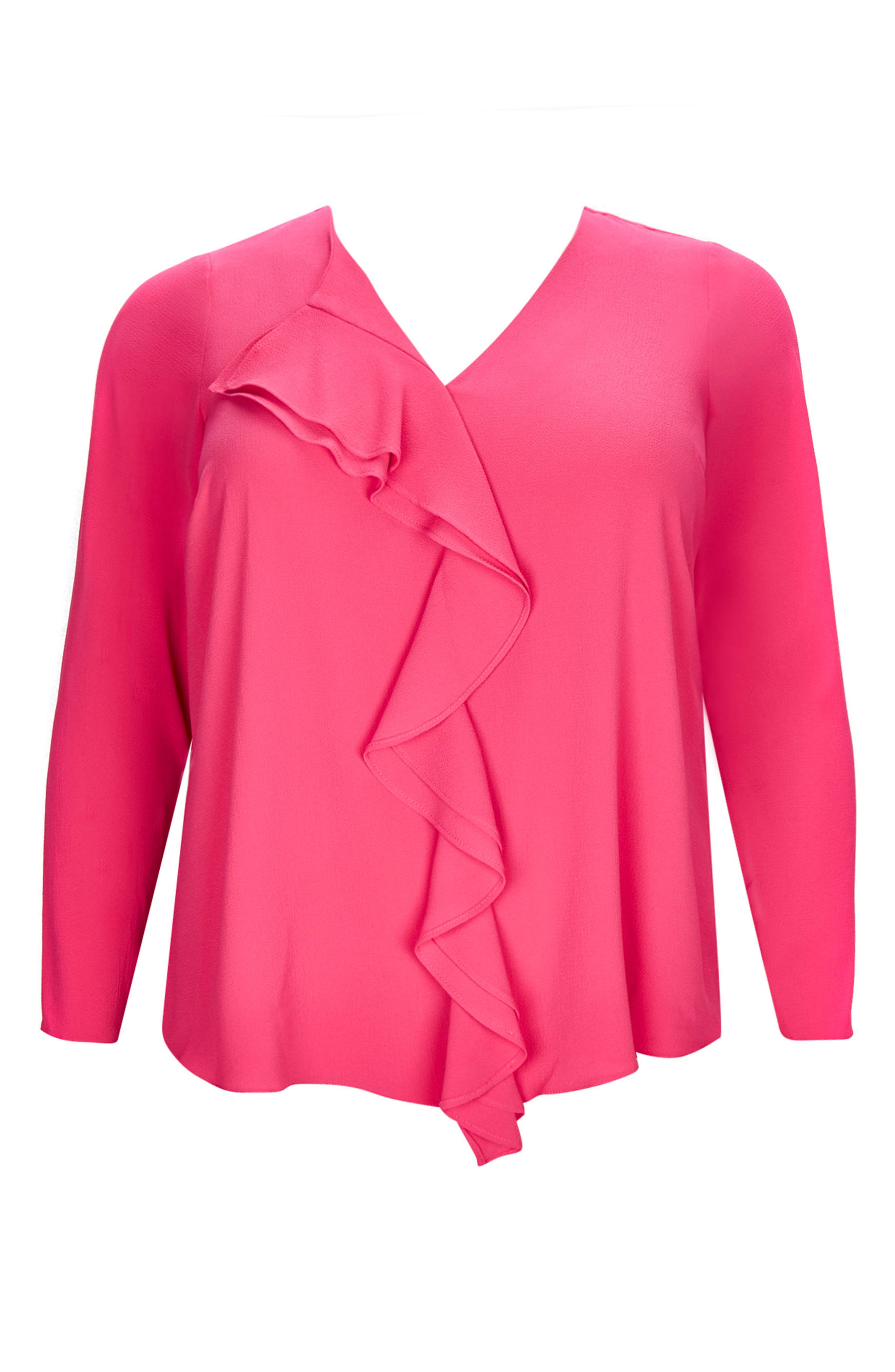 Ruffle Front Top,                             Alternate thumbnail 3, color,                             Pink