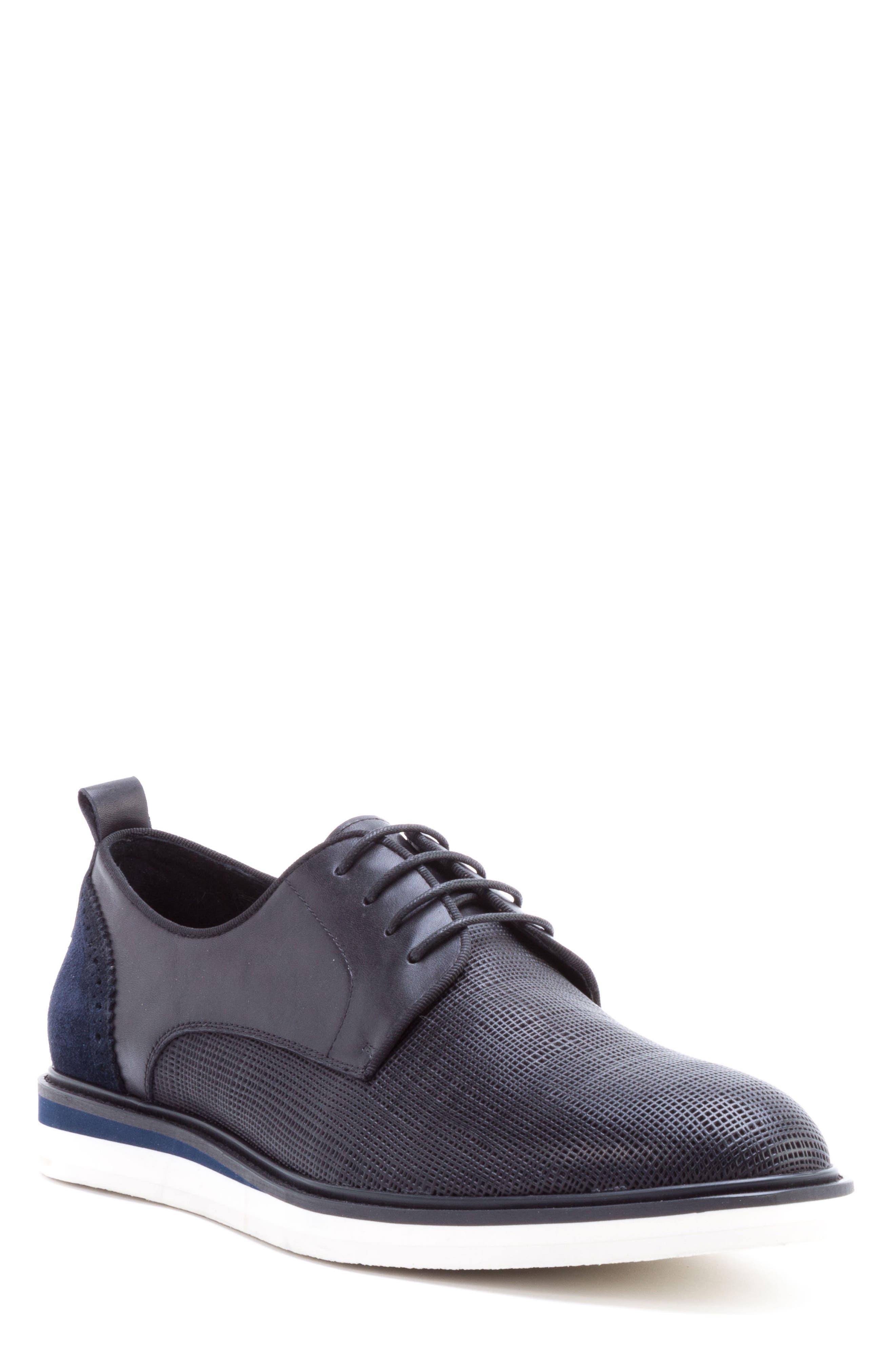 Stem Textured Plain Toe Derby,                             Main thumbnail 1, color,                             Black Leather