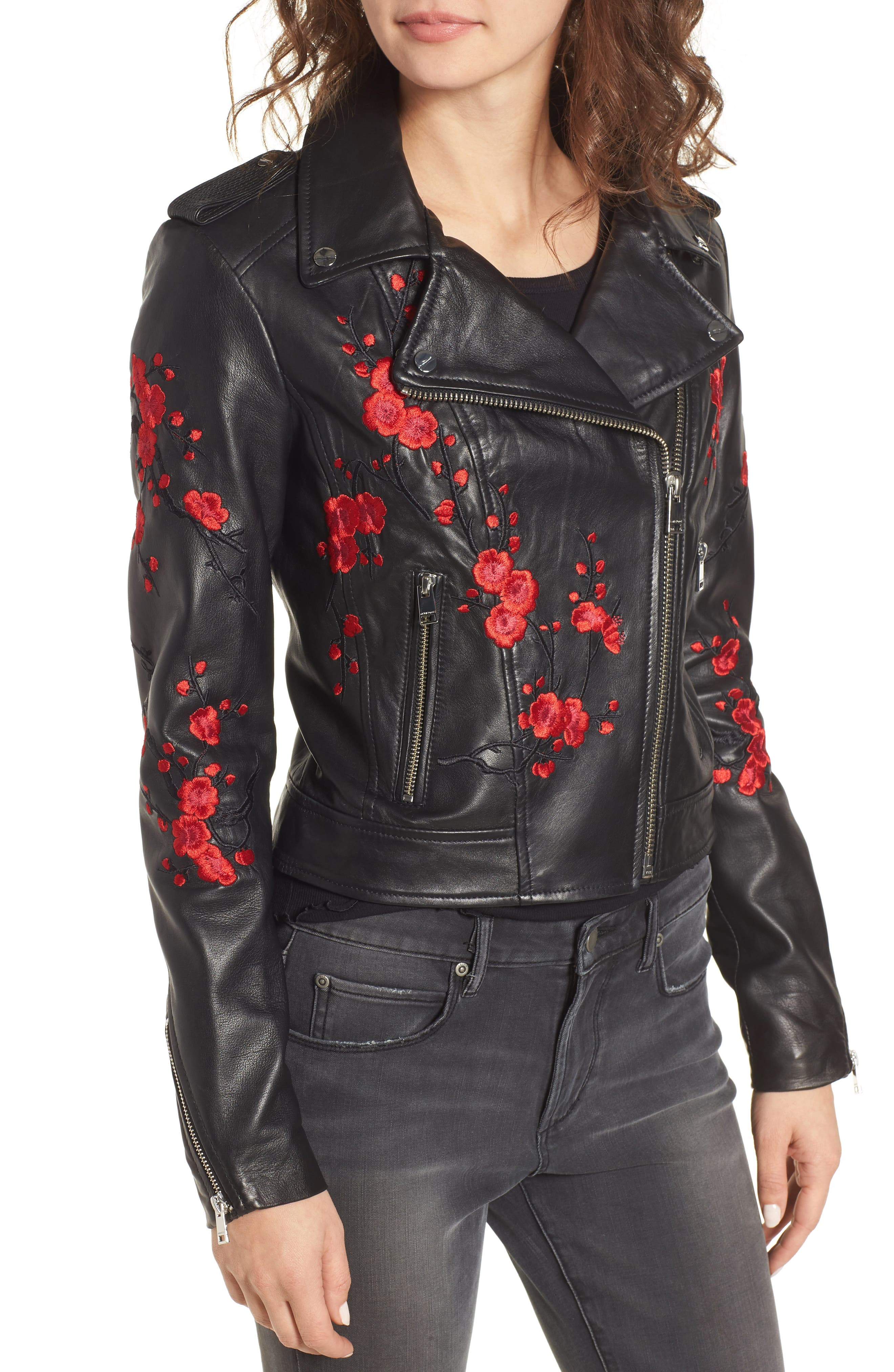 Embroidered Leather Moto Jacket,                             Alternate thumbnail 3, color,                             Black With Red Embroidery