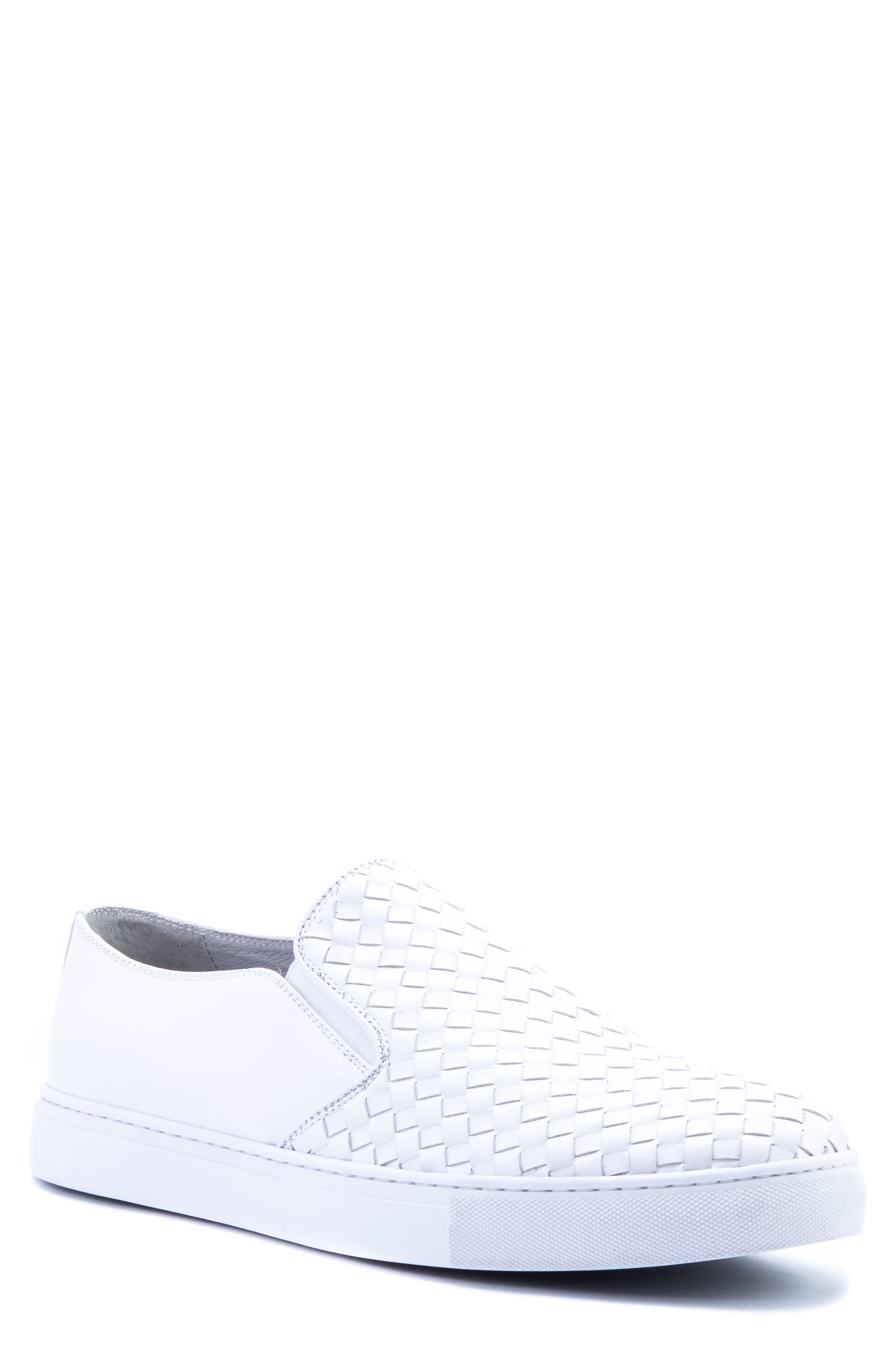 Echo II Woven Slip-On Sneaker,                             Main thumbnail 1, color,                             White Leather