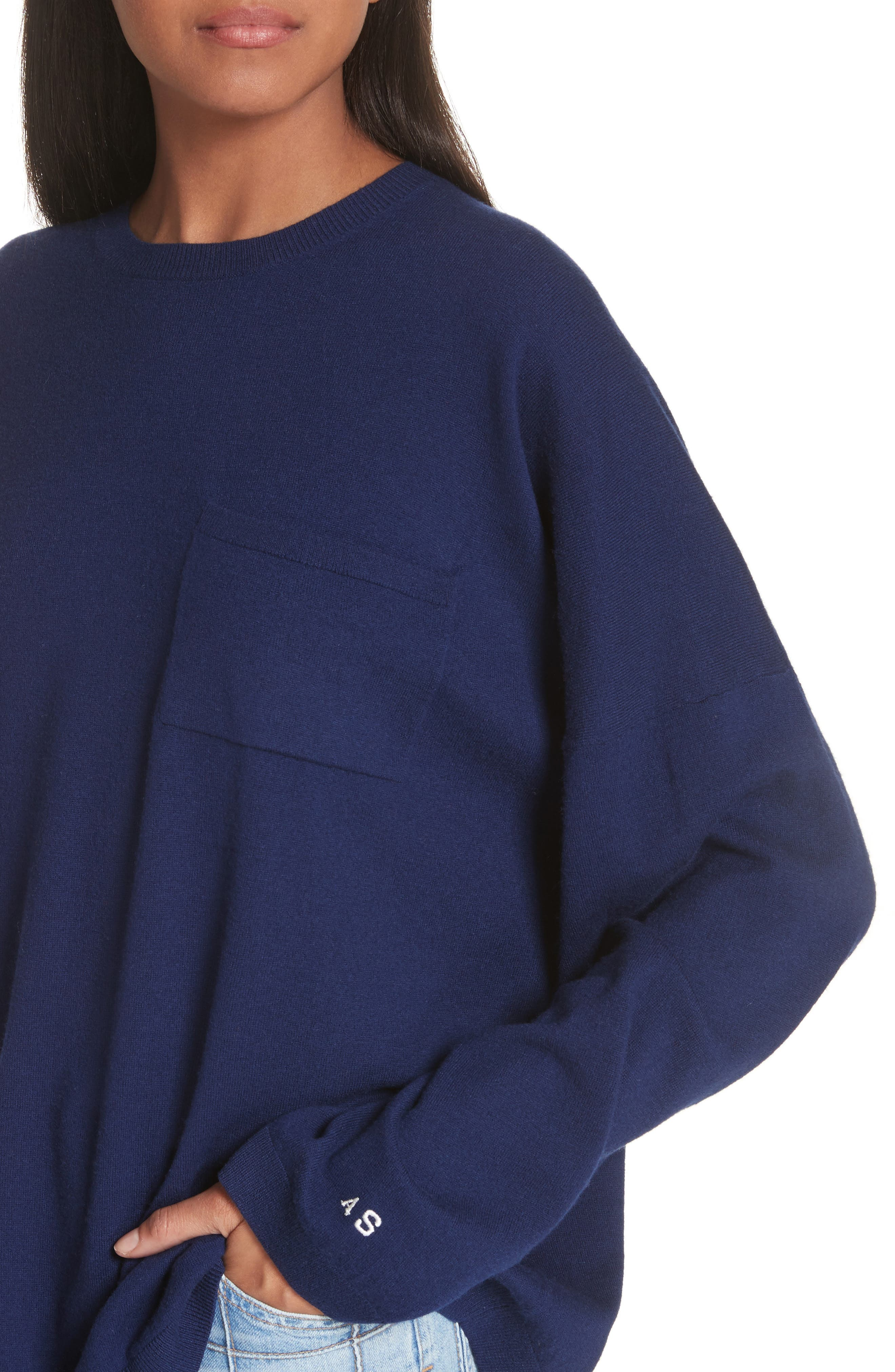Libby Wool Sweater,                             Alternate thumbnail 4, color,                             Navy