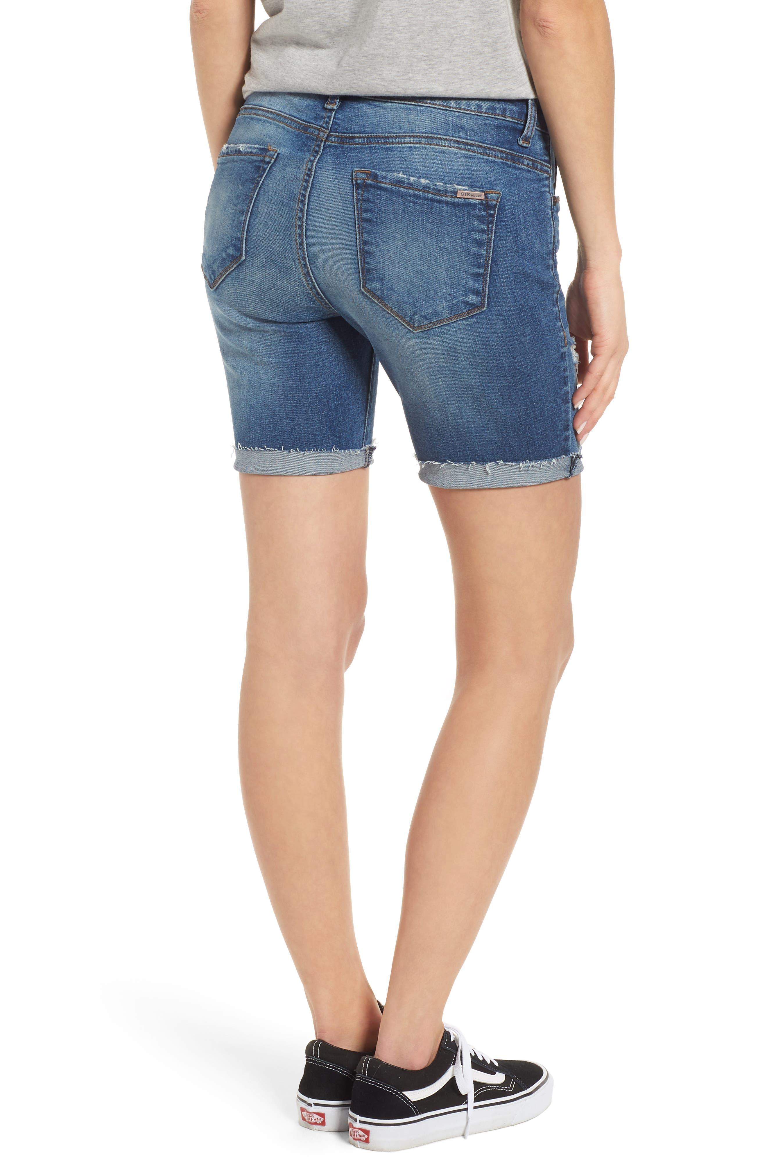 Cuffed Bermuda Denim Shorts,                             Alternate thumbnail 2, color,                             Lilac W/ Med Base
