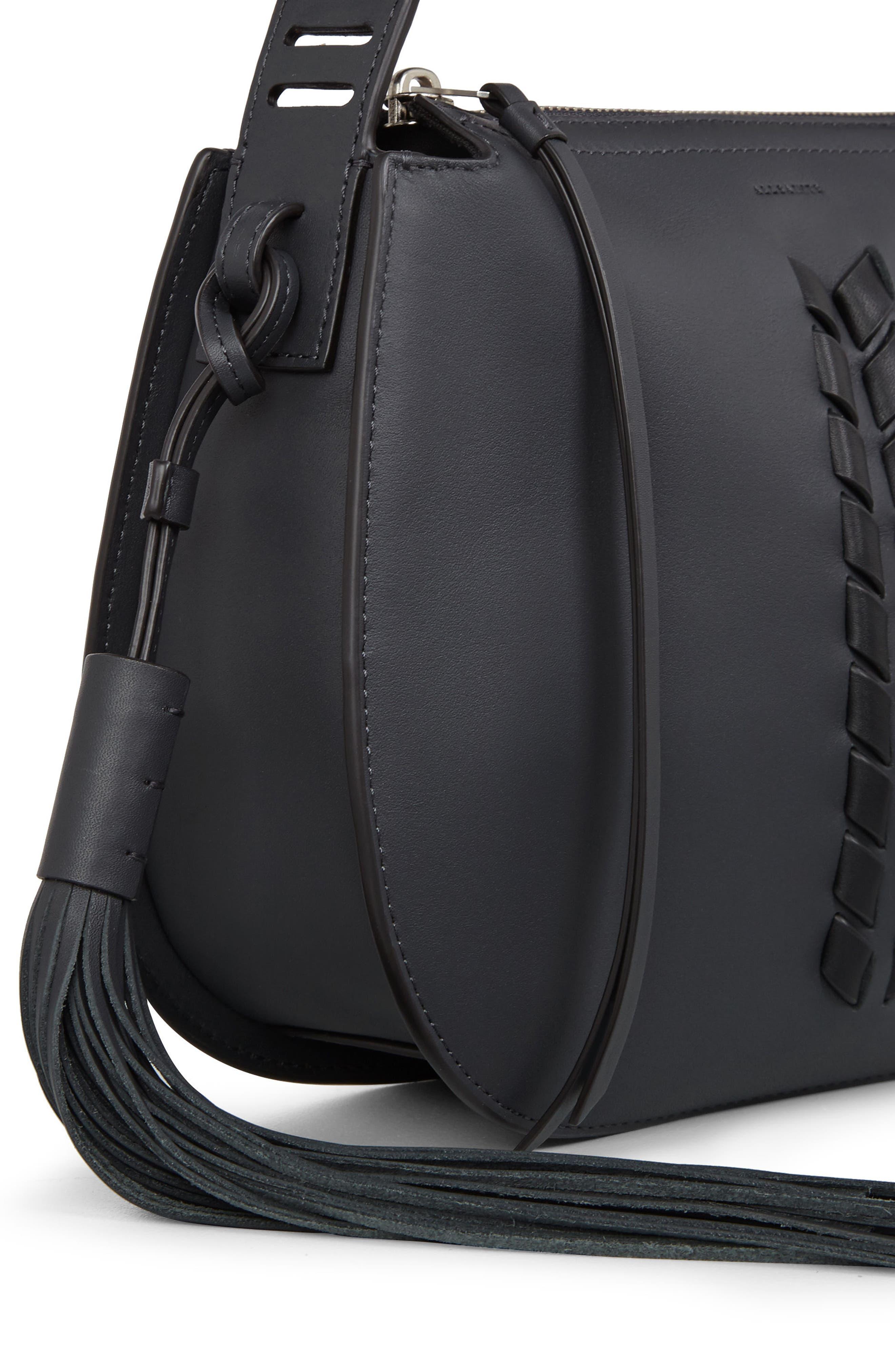 Kepi Leather Crossbody Bag,                             Alternate thumbnail 7, color,                             Navy Black