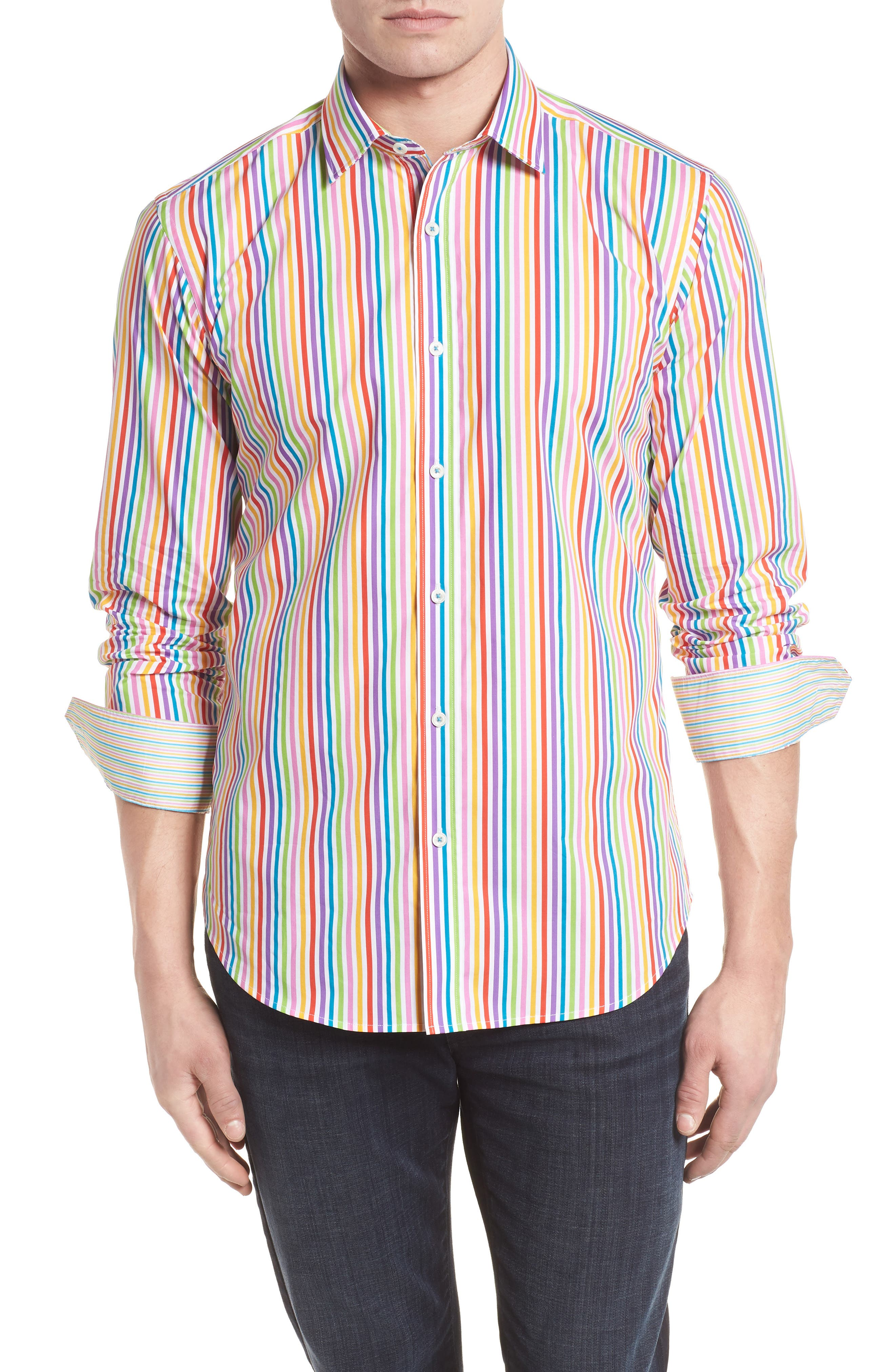 Classic Fit Woven Sport Shirt,                             Main thumbnail 1, color,                             Candy