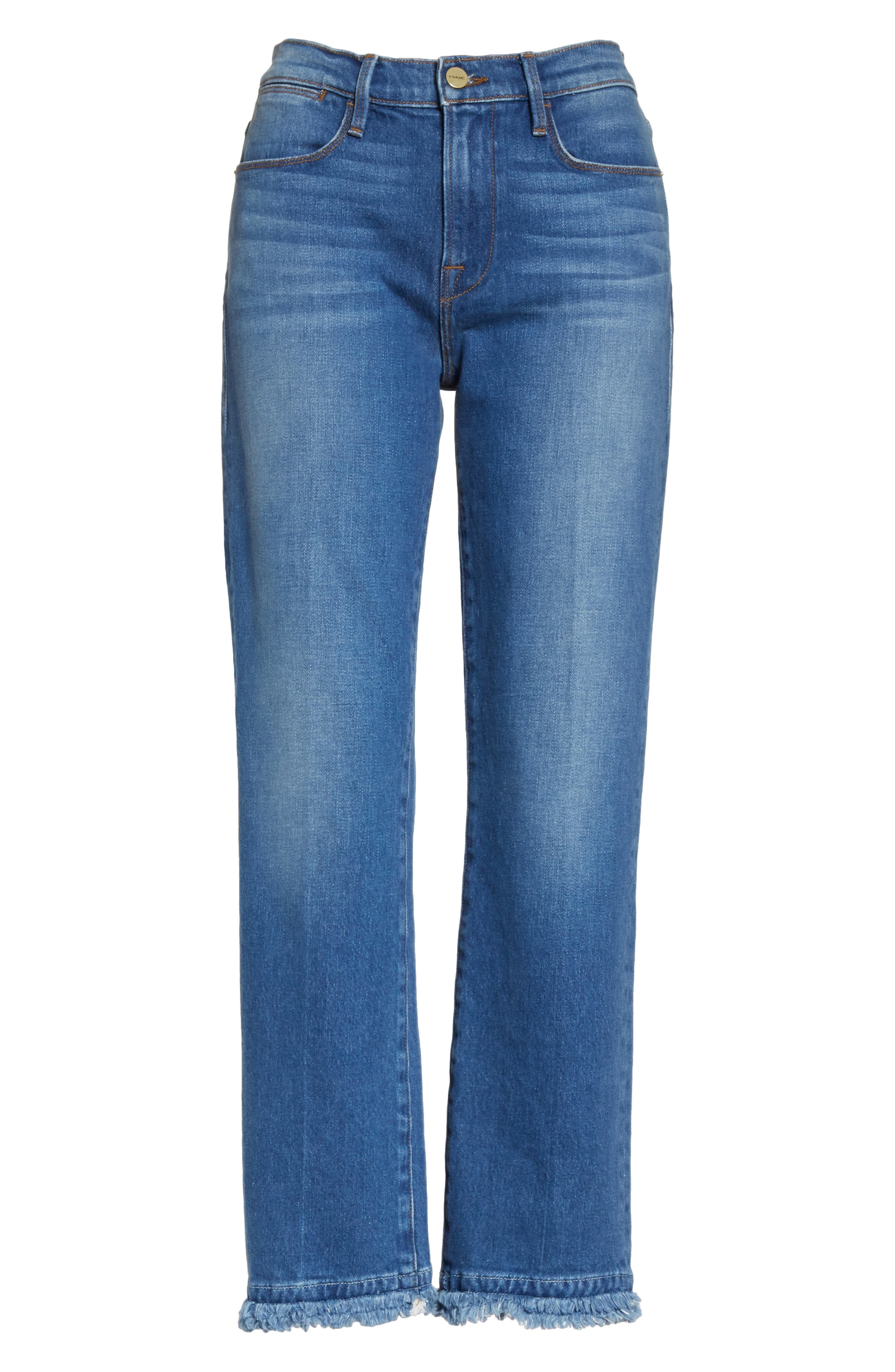 Le High Double Raw Edge High Waist Jeans,                             Alternate thumbnail 7, color,                             Whitway