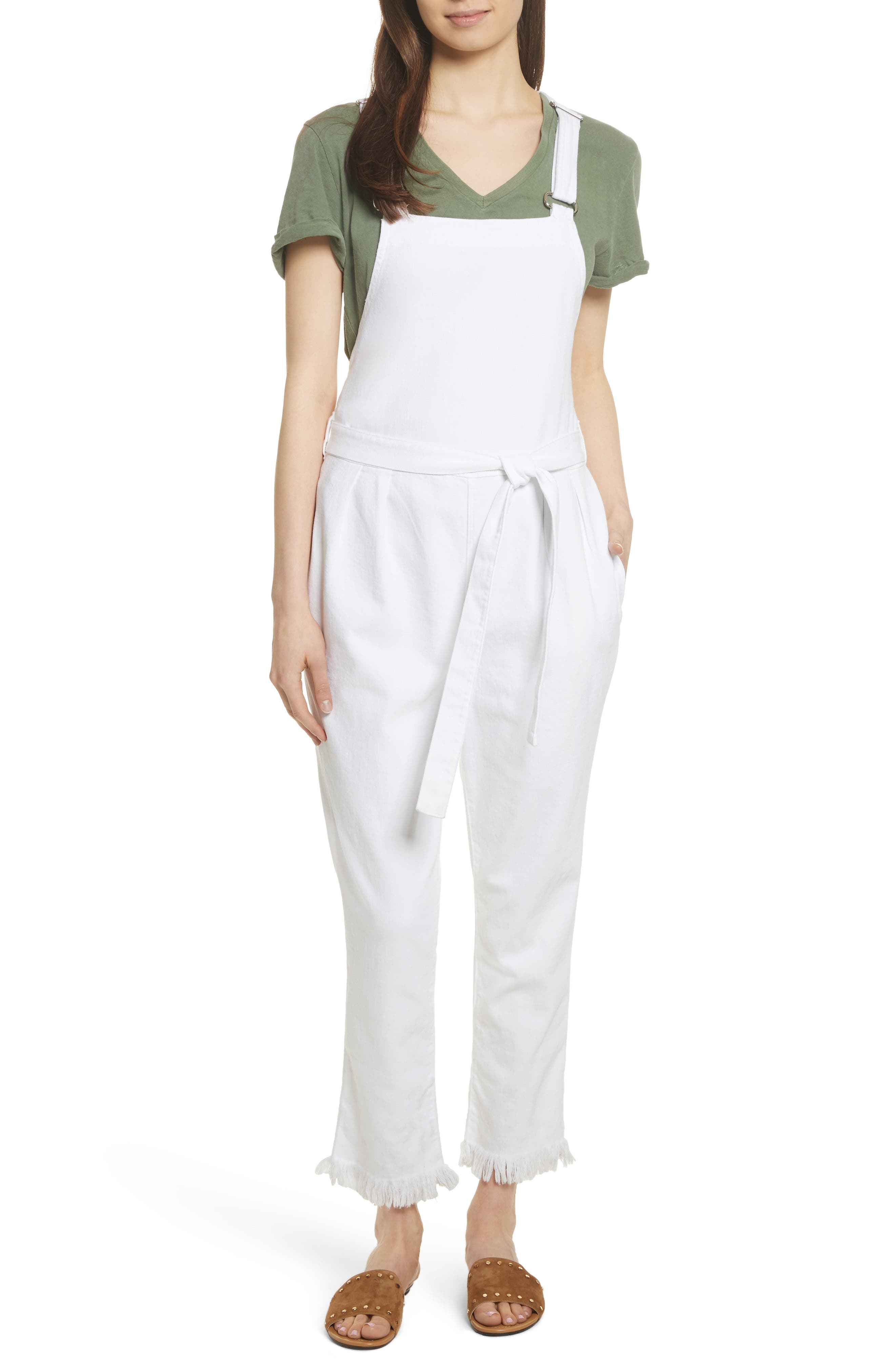 Le Paperbag Belted Denim Overalls,                             Main thumbnail 1, color,                             Blanc