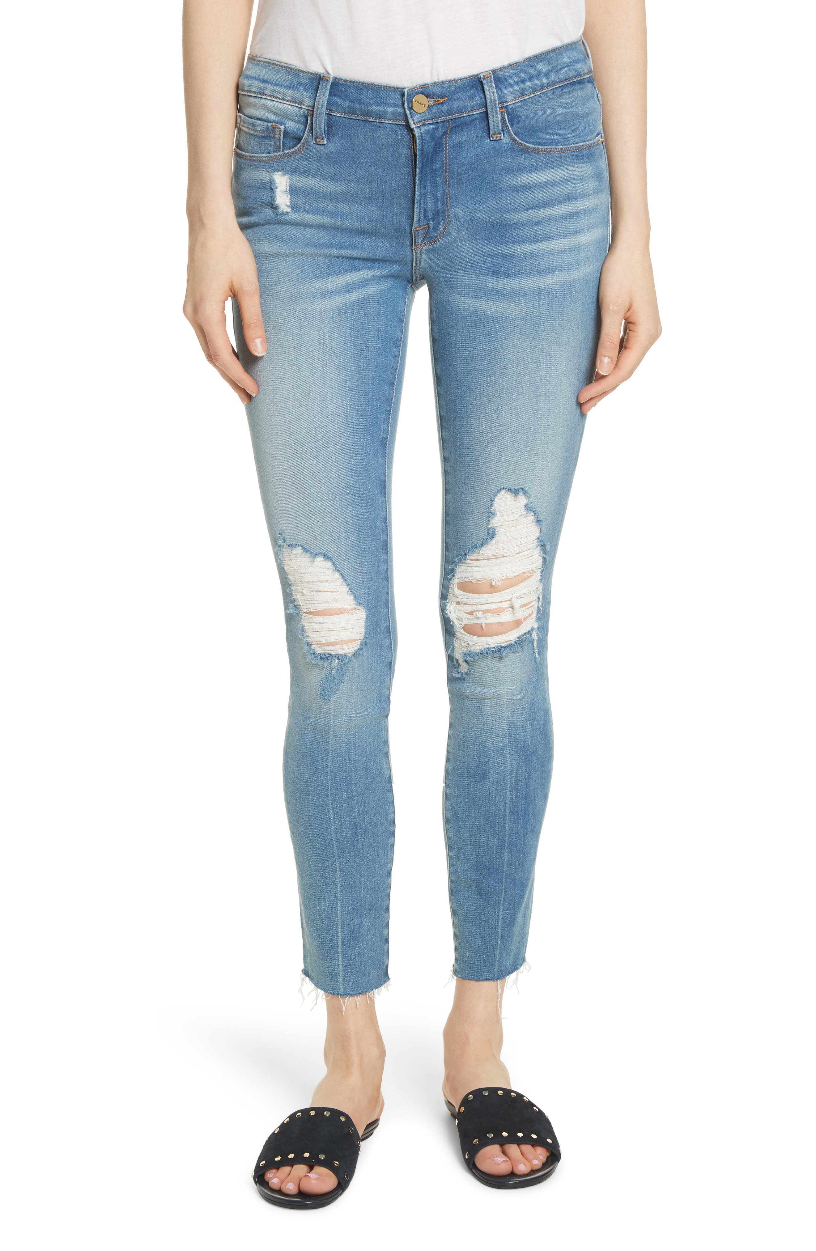 Le Skinny de Jeanne Raw Edge Crop Skinny Jeans,                             Main thumbnail 1, color,                             Stanwell