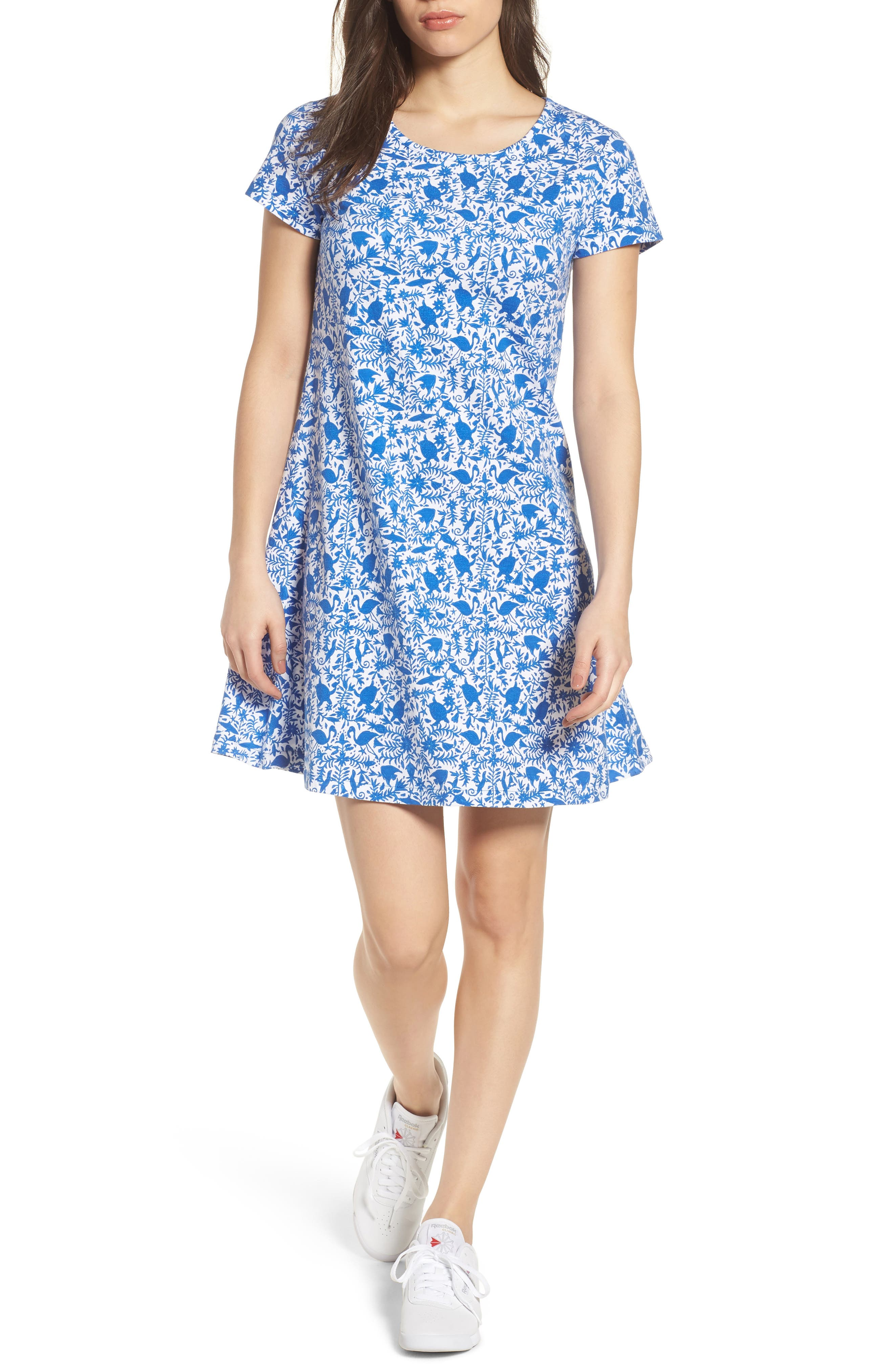Bahamas Otomi Print Stretch Cotton Dress,                             Main thumbnail 1, color,                             Yacht Blue