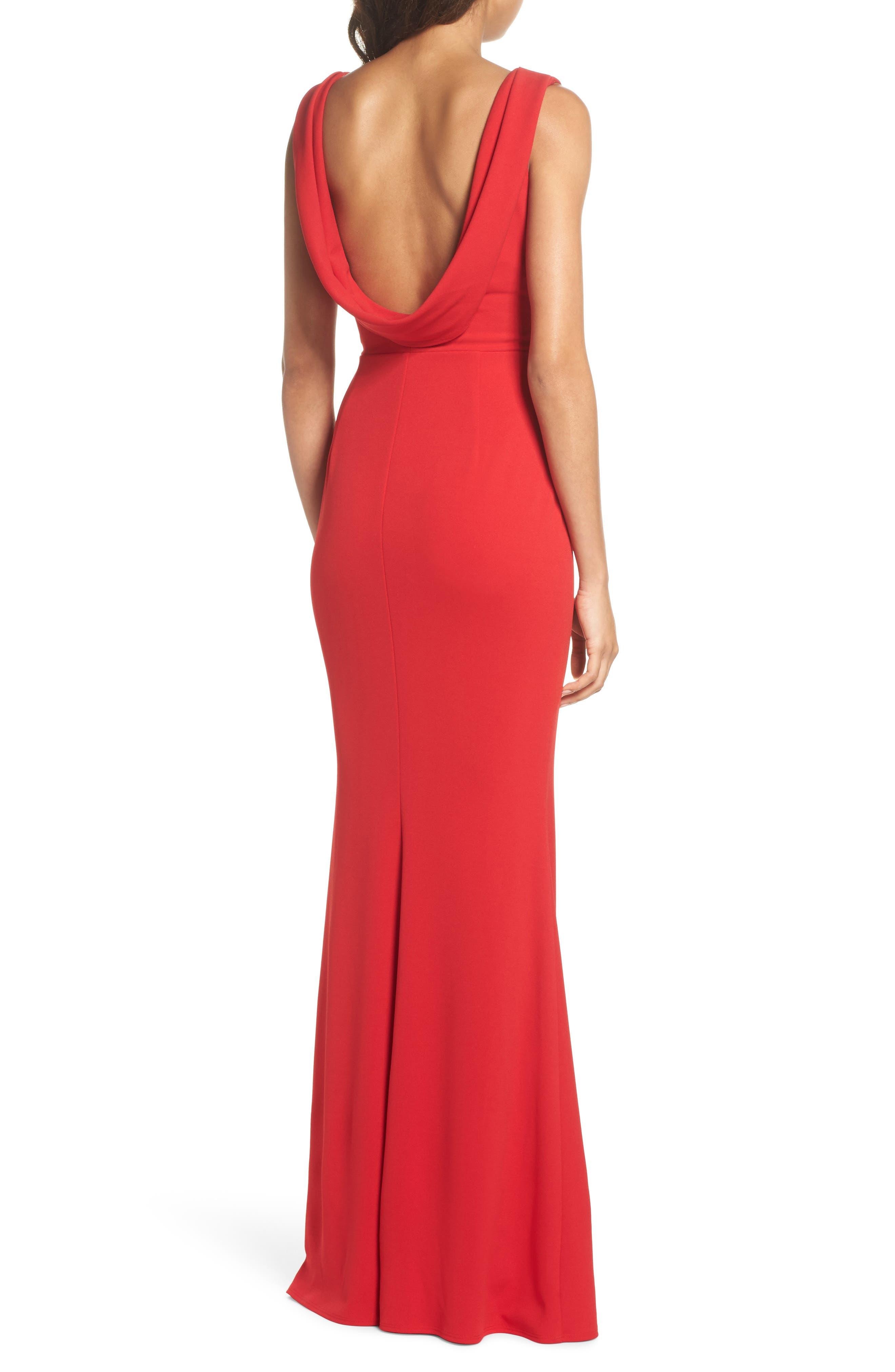 Vionnet Drape Back Crepe Gown,                             Alternate thumbnail 2, color,                             Red