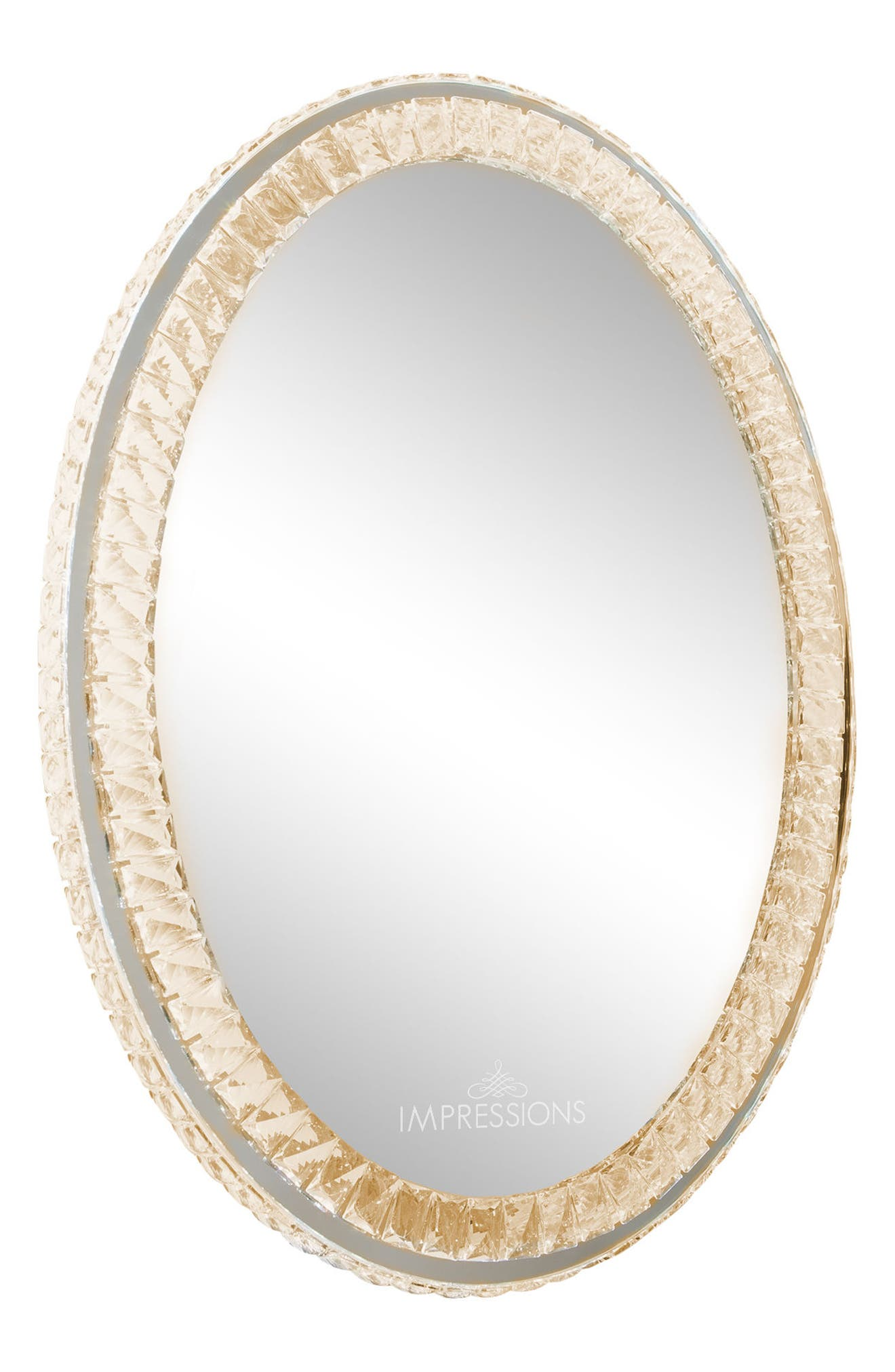 Alternate Image 2  - Impressions Vanity Co. Diamond Collection Oval LED Wall Mirror