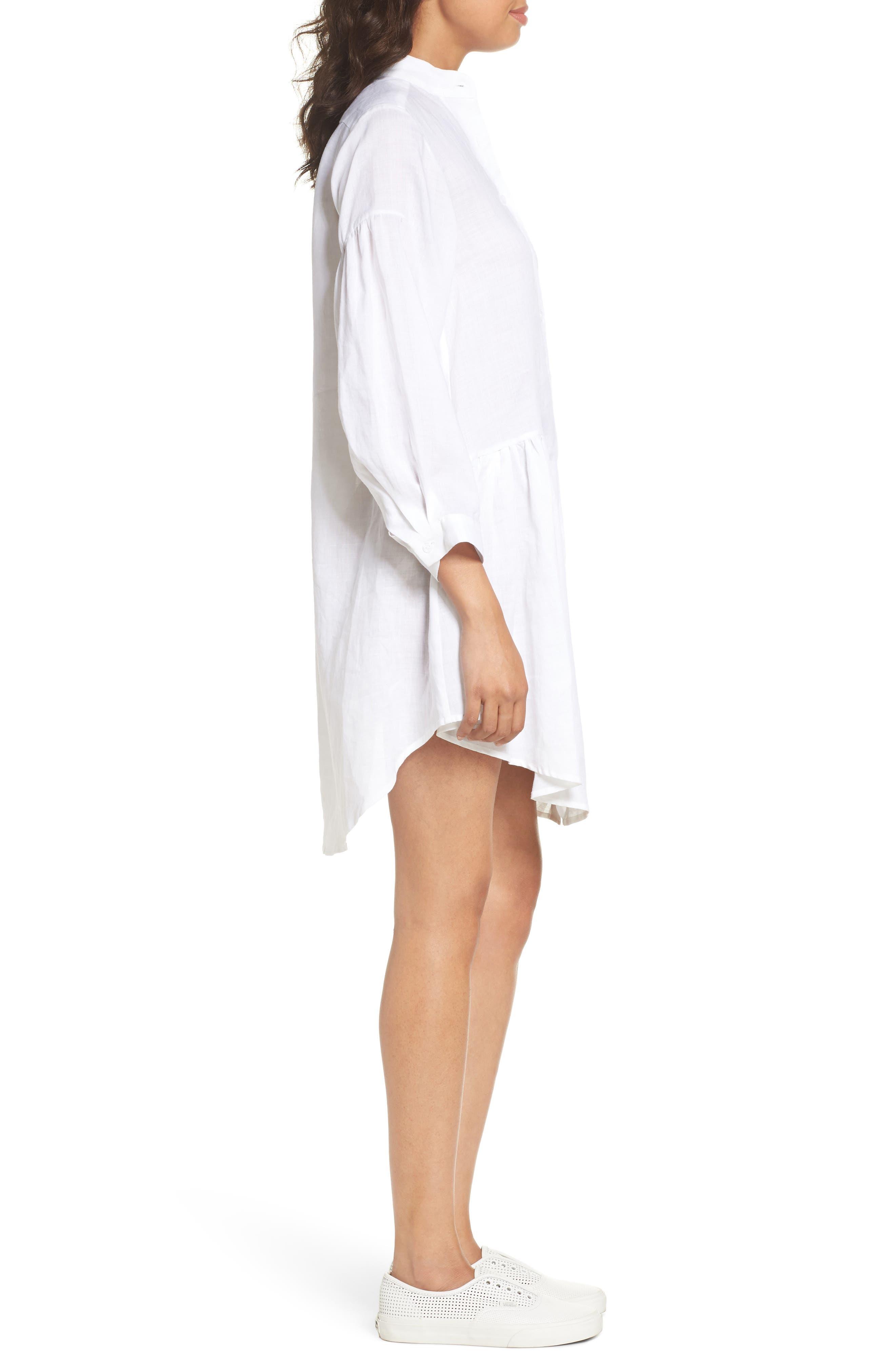 Tria Linen Shirtdress,                             Alternate thumbnail 3, color,                             White