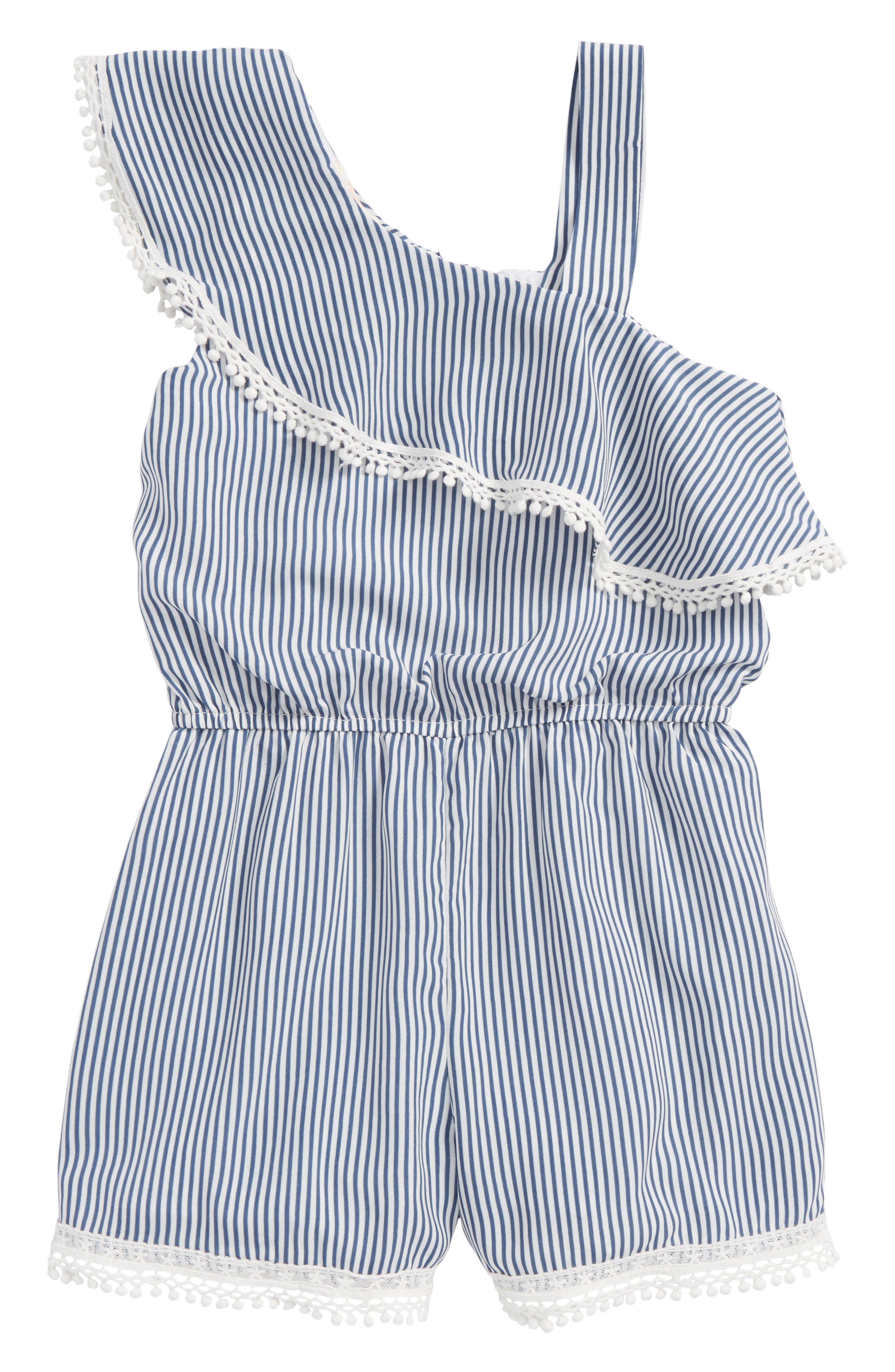 Stripe Ruffle Romper,                         Main,                         color, Navy White