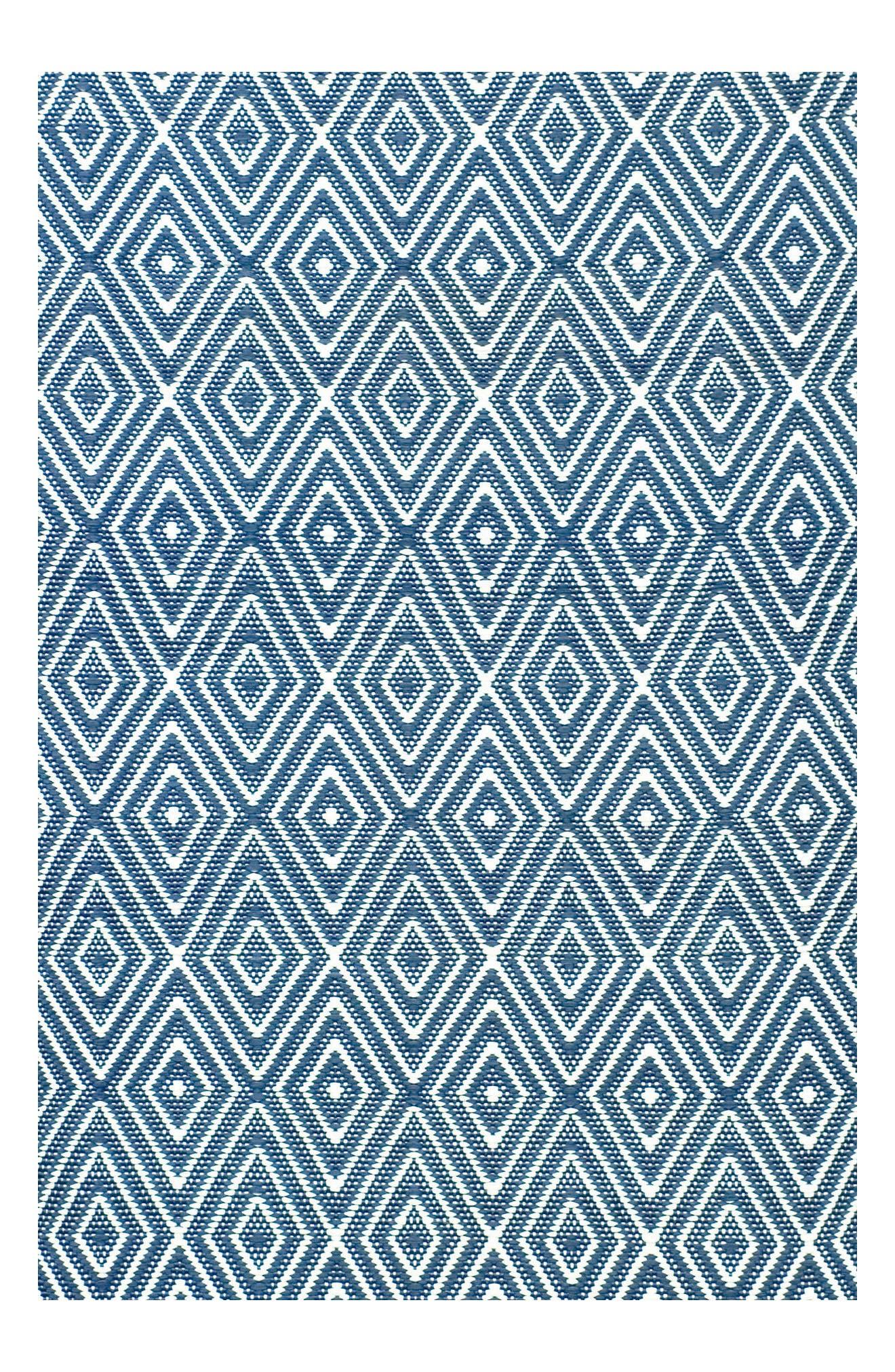 Diamond Indoor/Outdoor Rug,                             Main thumbnail 1, color,                             Denim/ White