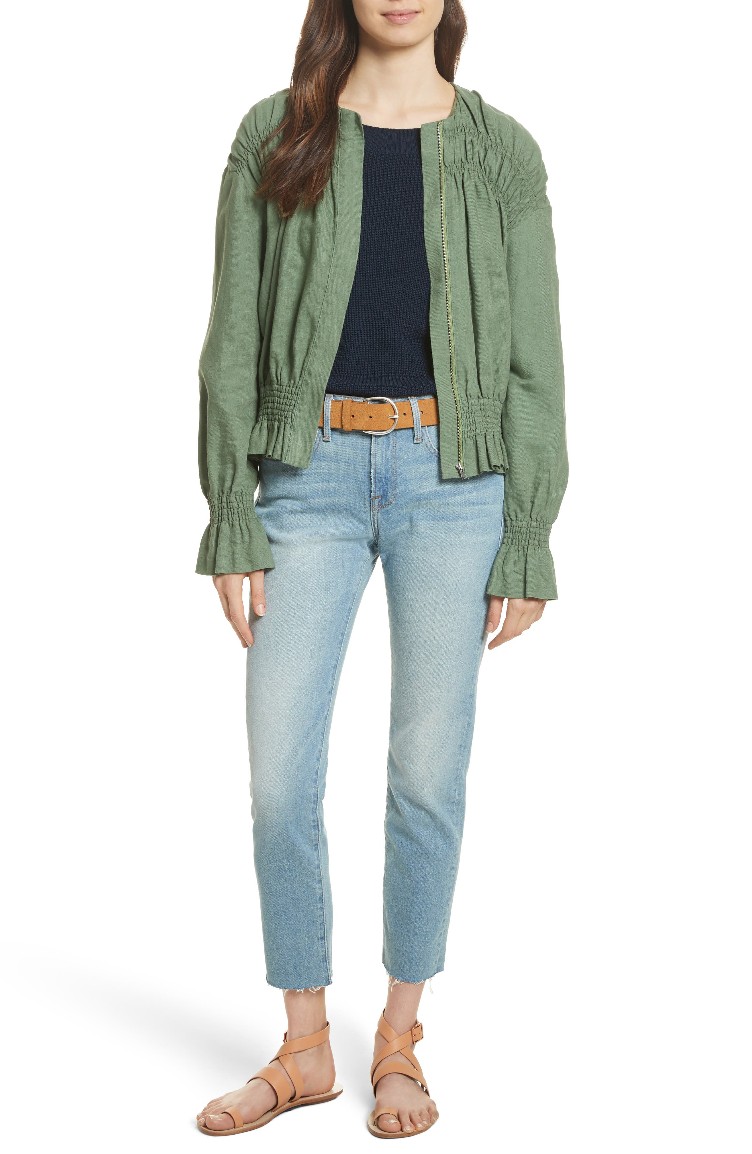 Smocked Jacket,                             Alternate thumbnail 7, color,                             Faded Army