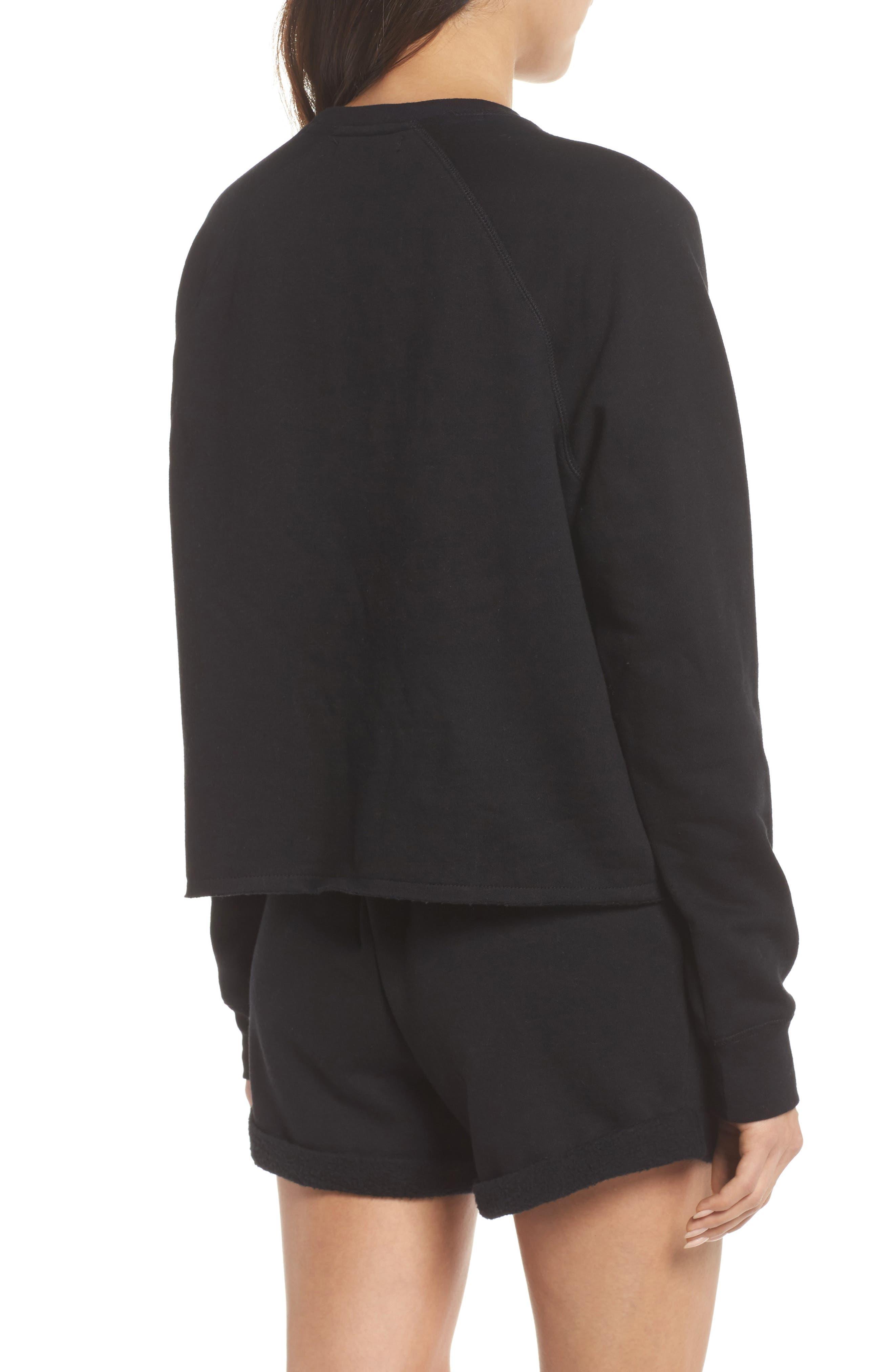 Brunette Raw Hem Sweatshirt,                             Alternate thumbnail 2, color,                             Black