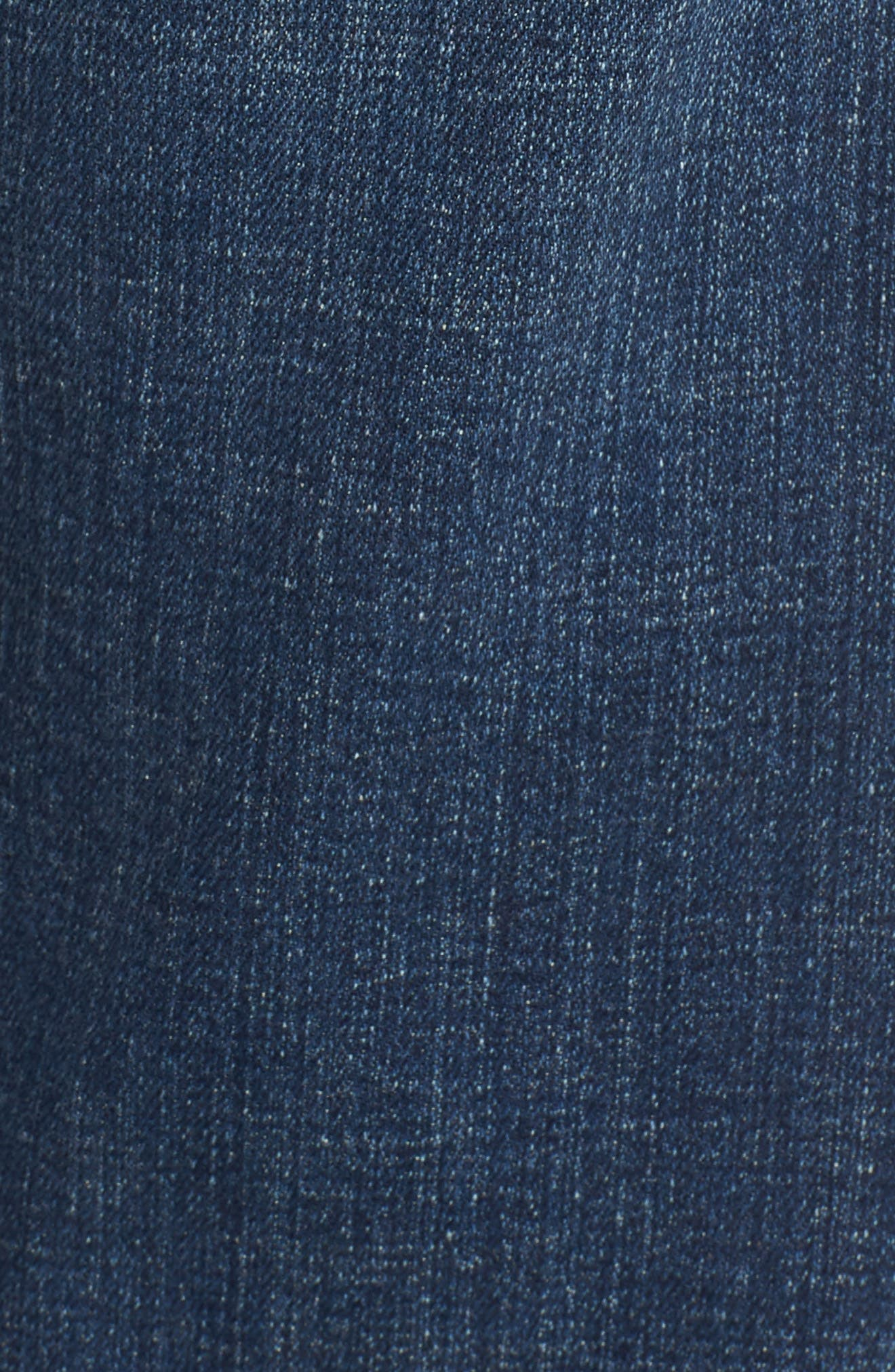 Tapered Stretch Organic Cotton Crop Jeans,                             Alternate thumbnail 6, color,                             Abraded Aged Indigo