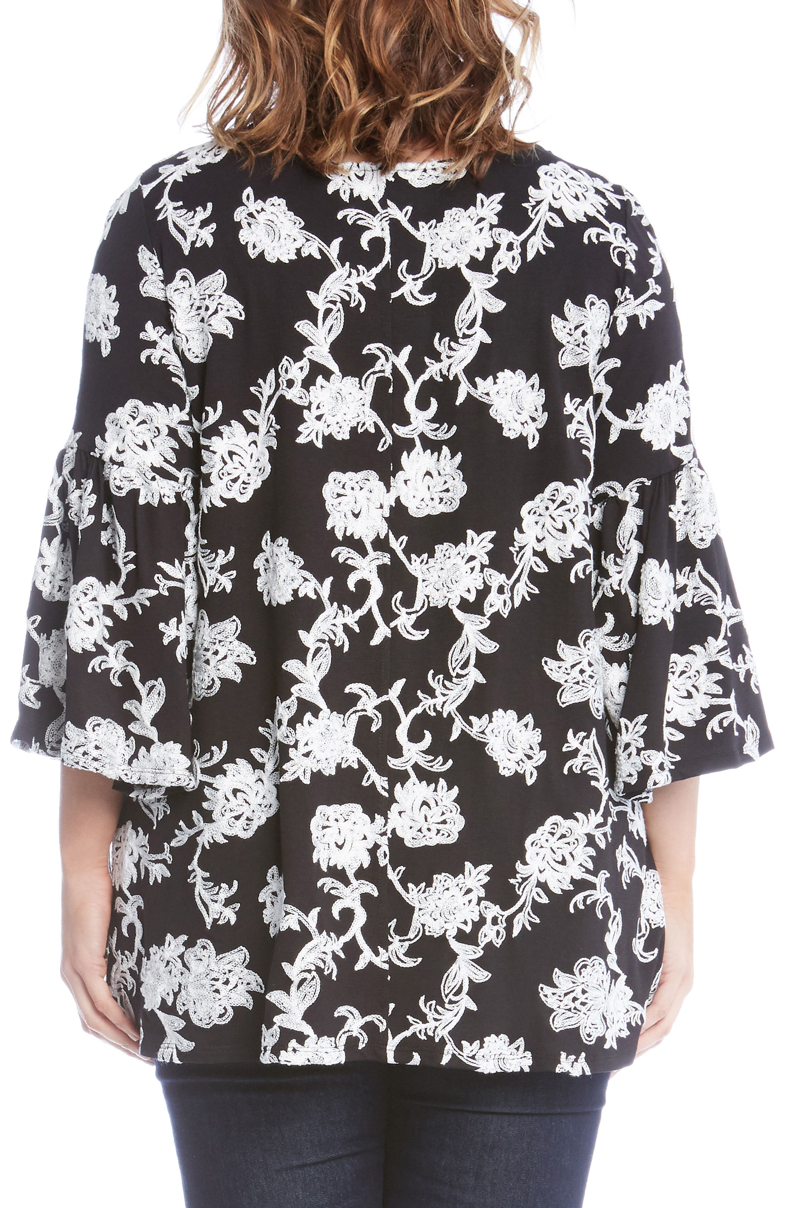 Embroidered Knit Top,                             Alternate thumbnail 2, color,                             Black