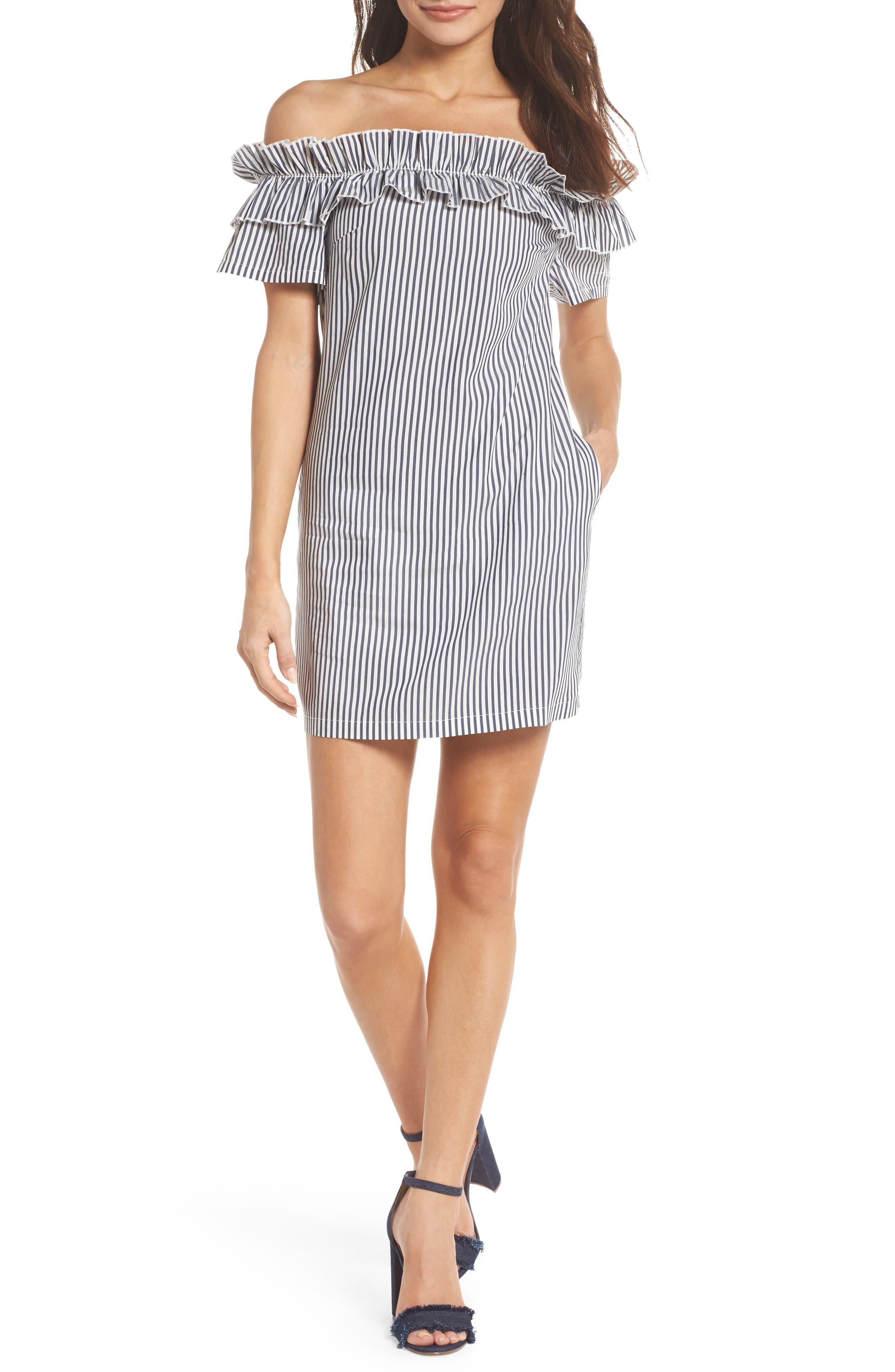 Patio Only Stripe Minidress,                             Main thumbnail 1, color,                             Navy/ White Mini Stripe