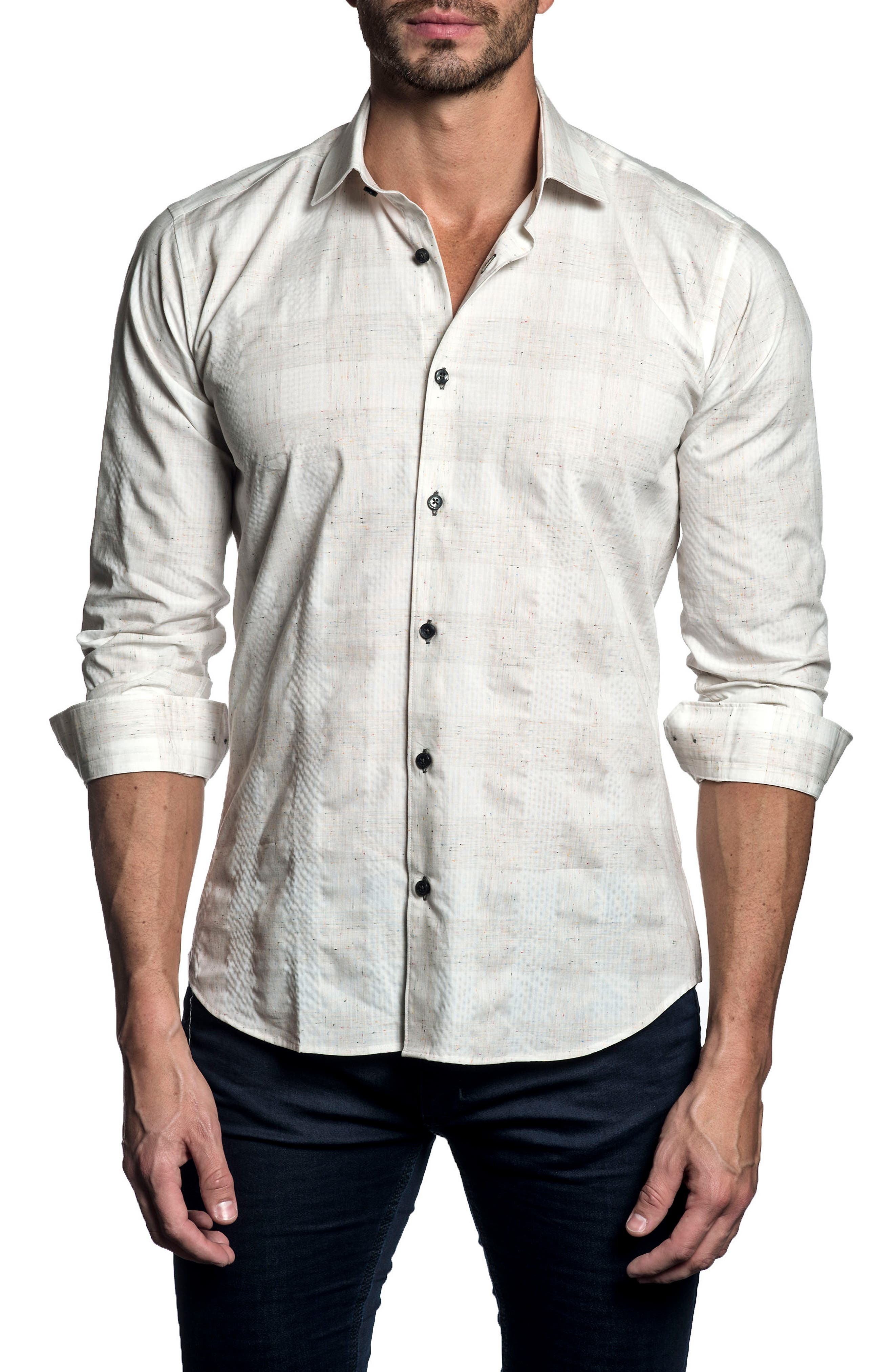 Trim Fit Check Sport Shirt,                         Main,                         color, White Heather Plaid