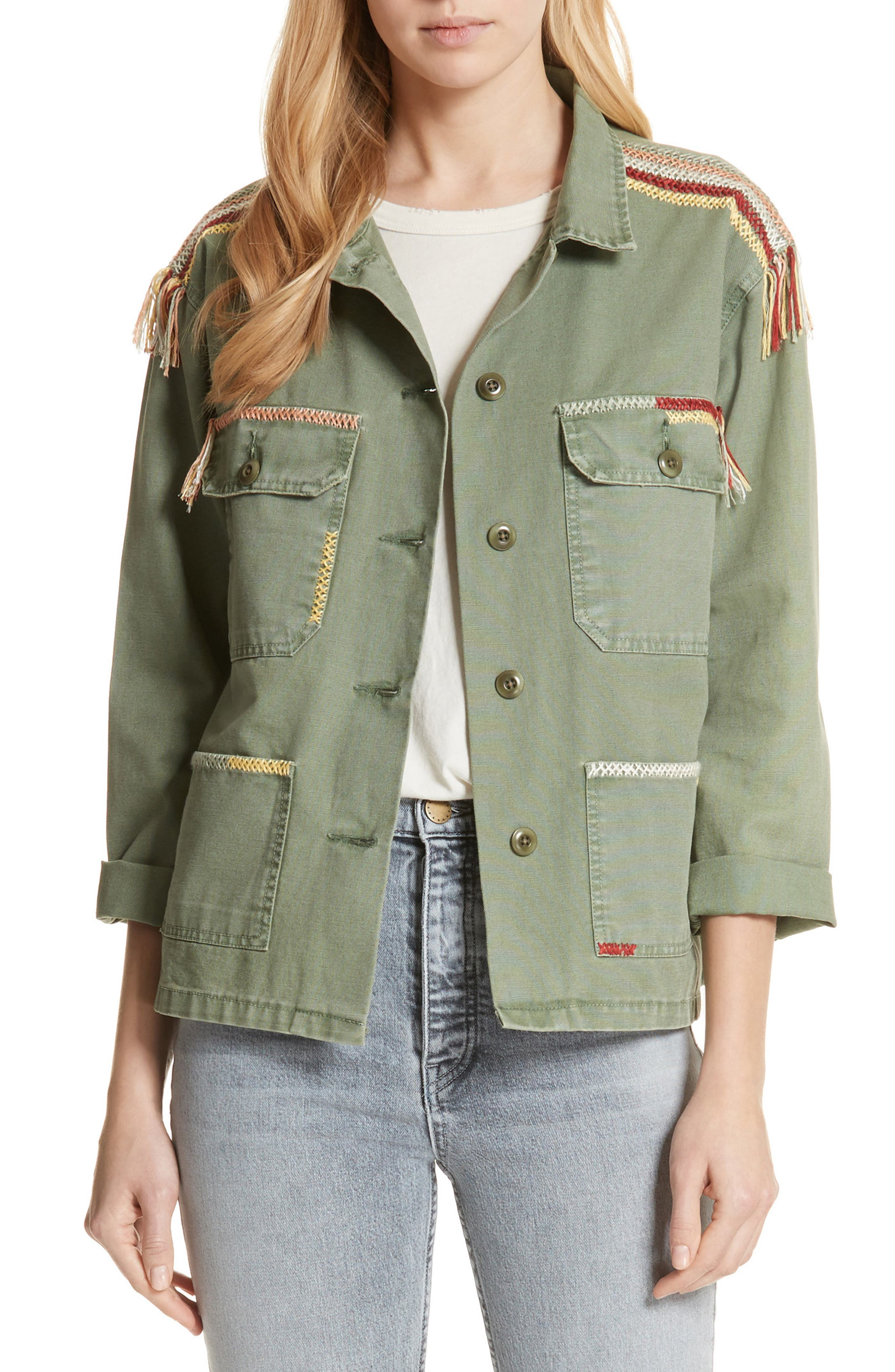 The Sergeant Embroidered Jacket,                             Main thumbnail 1, color,                             Worn Army