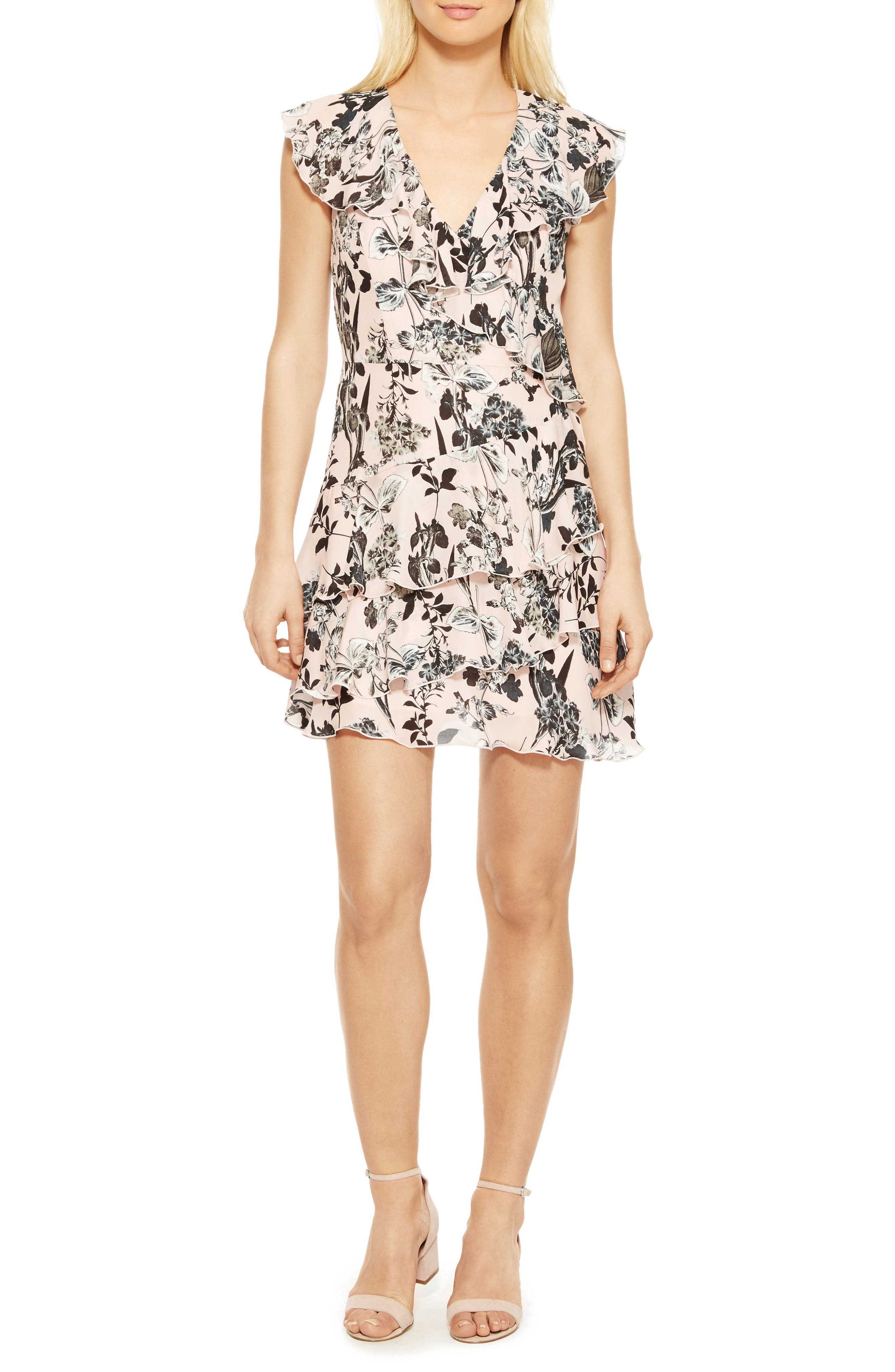 Dorthy Floral Silk Dress,                         Main,                         color, Pearl Paradise