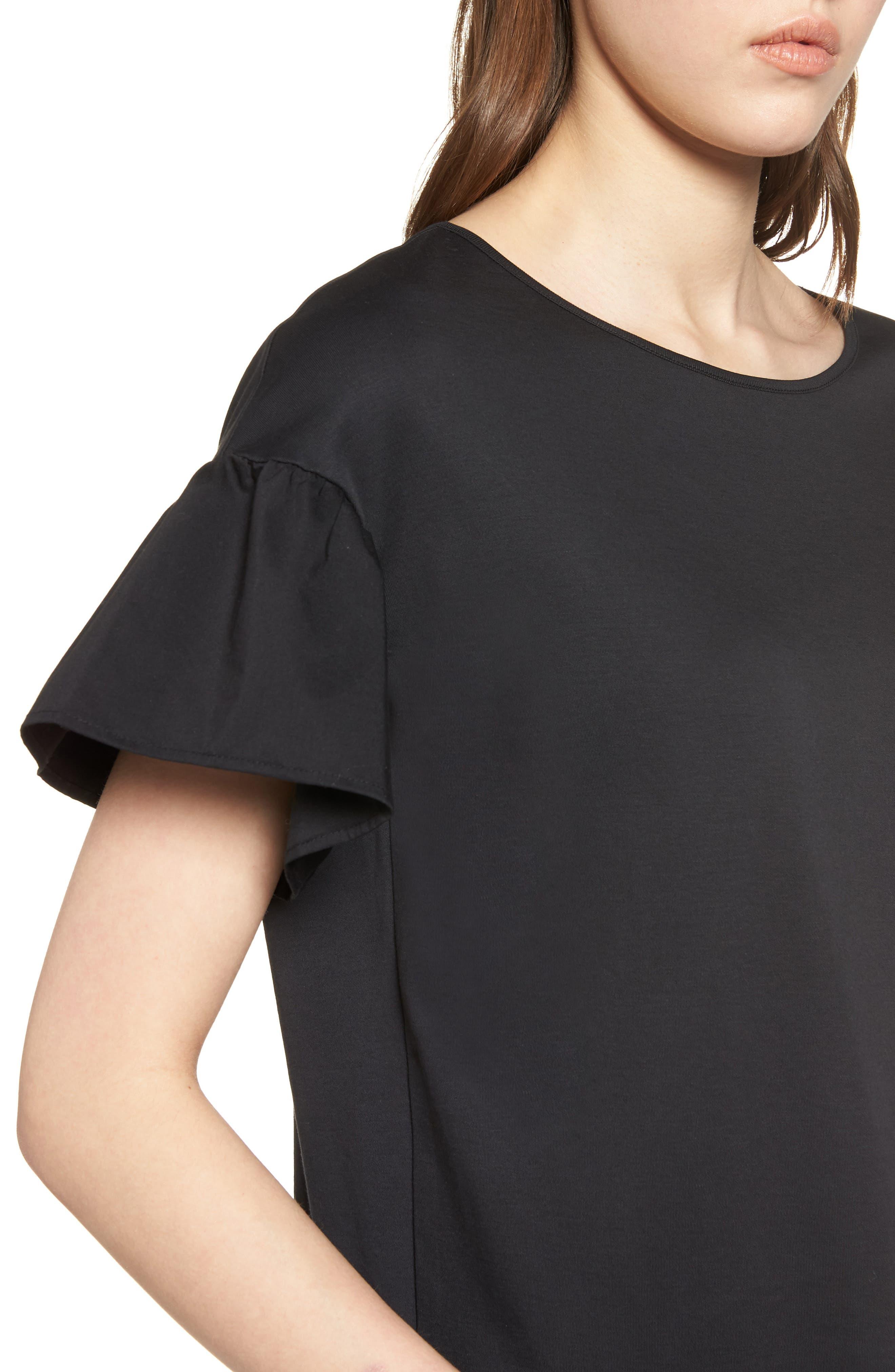 Flutter Sleeve Cotton Knit Top,                             Alternate thumbnail 4, color,                             Black