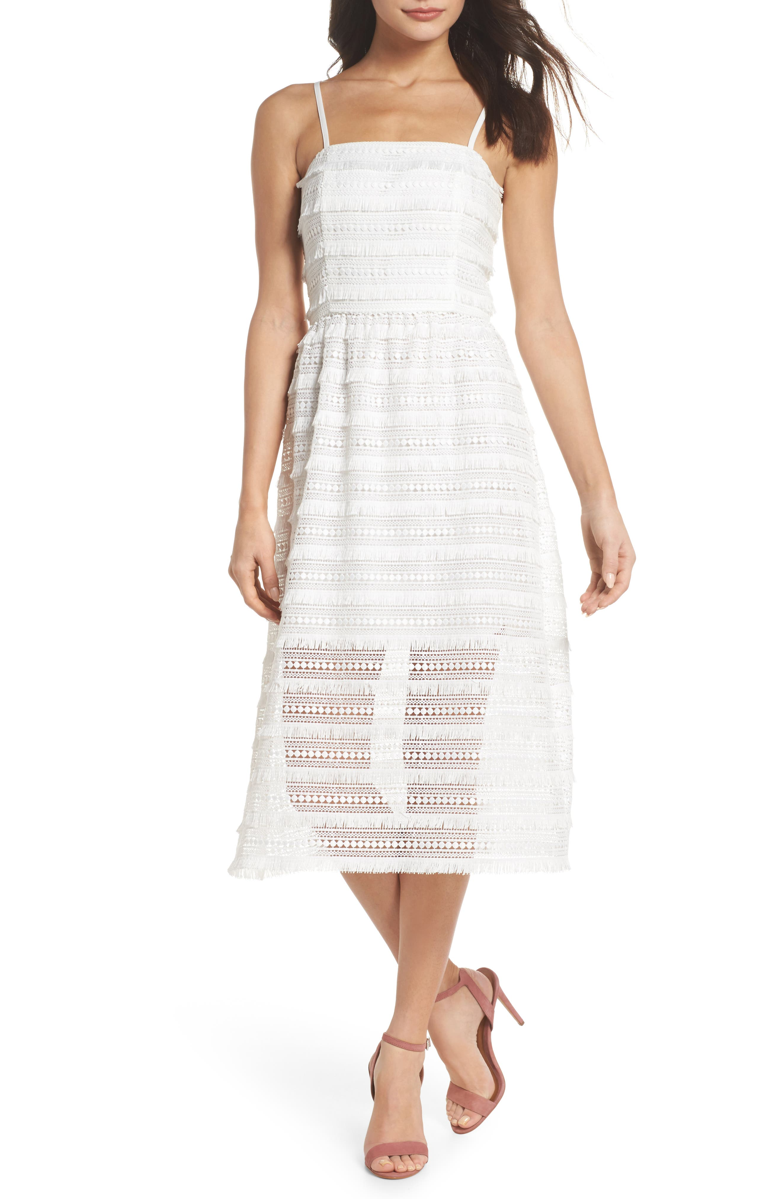 Maybe Mozza Midi Sundress,                         Main,                         color, White