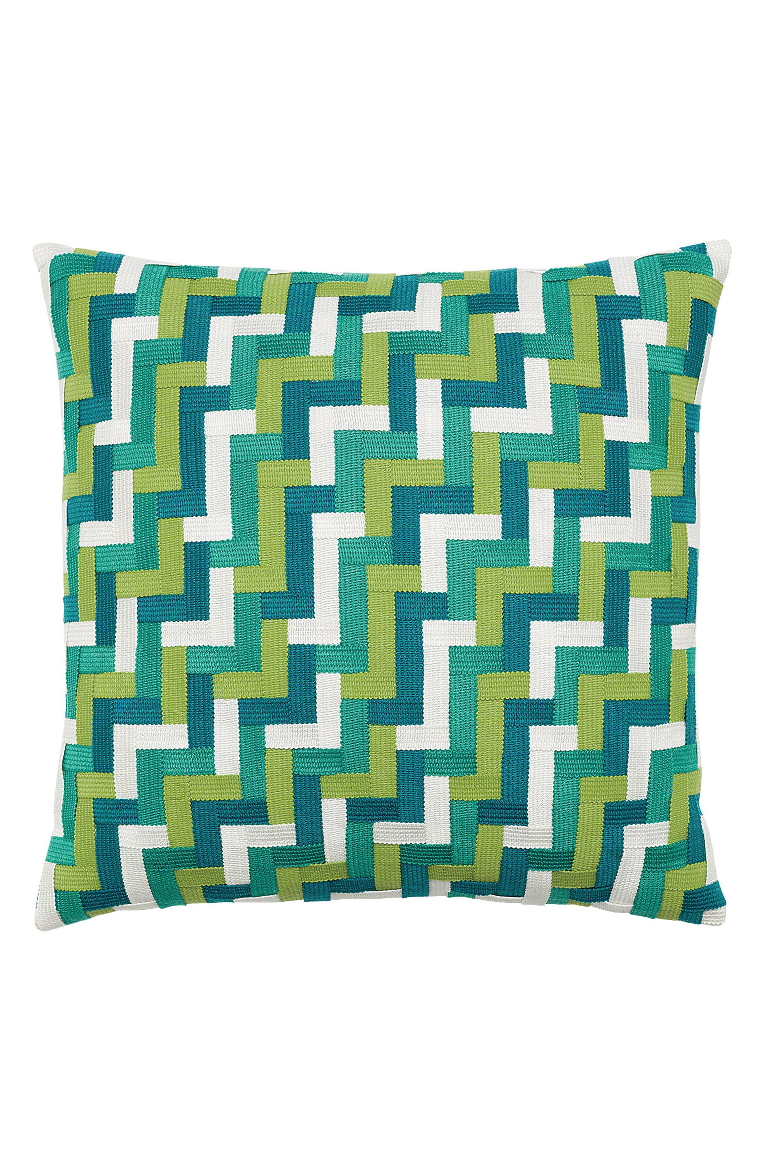 Eden Basket Weave Indoor/Outdoor Accent Pillow,                             Main thumbnail 1, color,                             Green/ Blue
