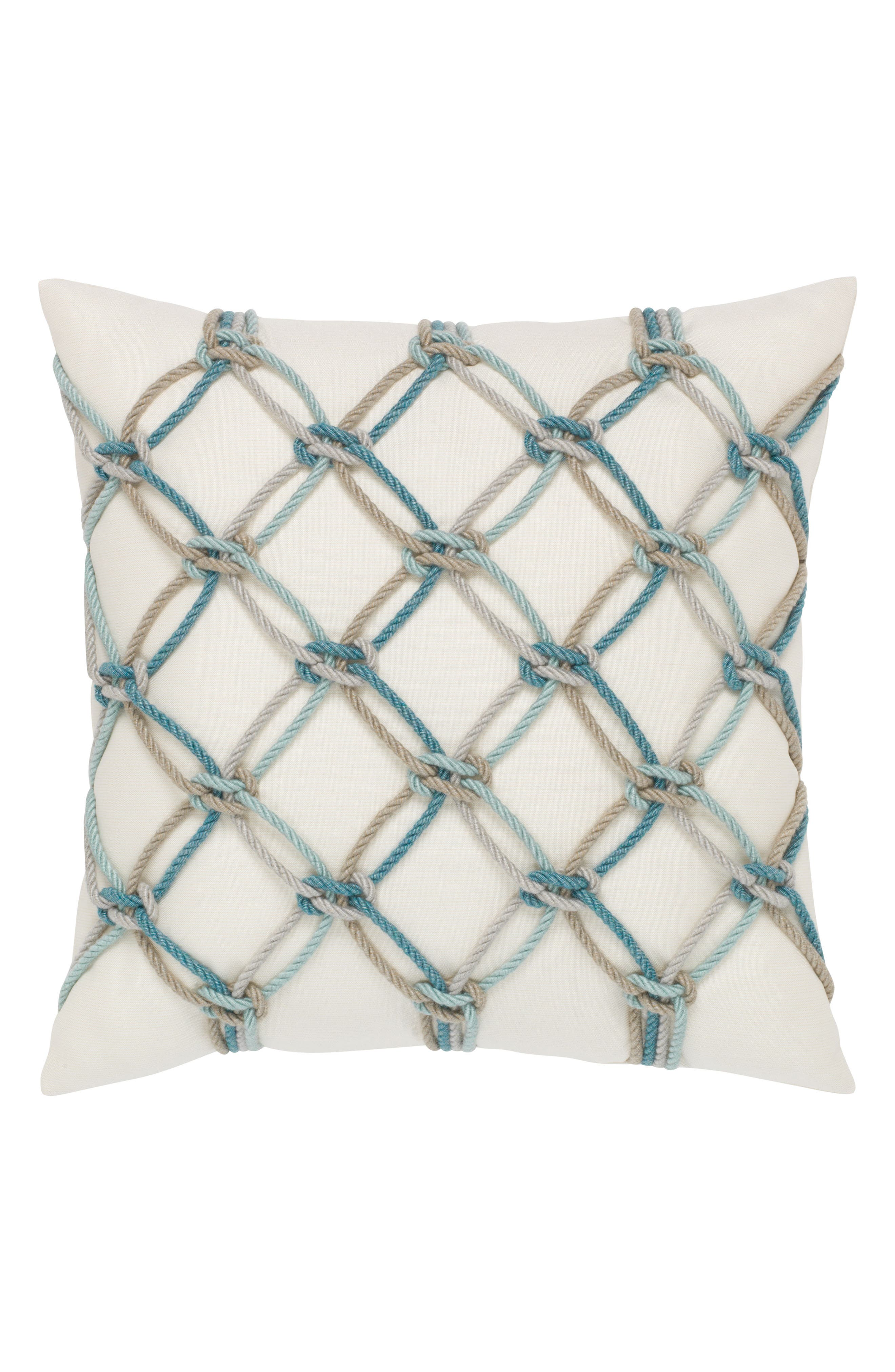 Aqua Rope Indoor/Outdoor Accent Pillow,                             Main thumbnail 1, color,                             White/ Blue