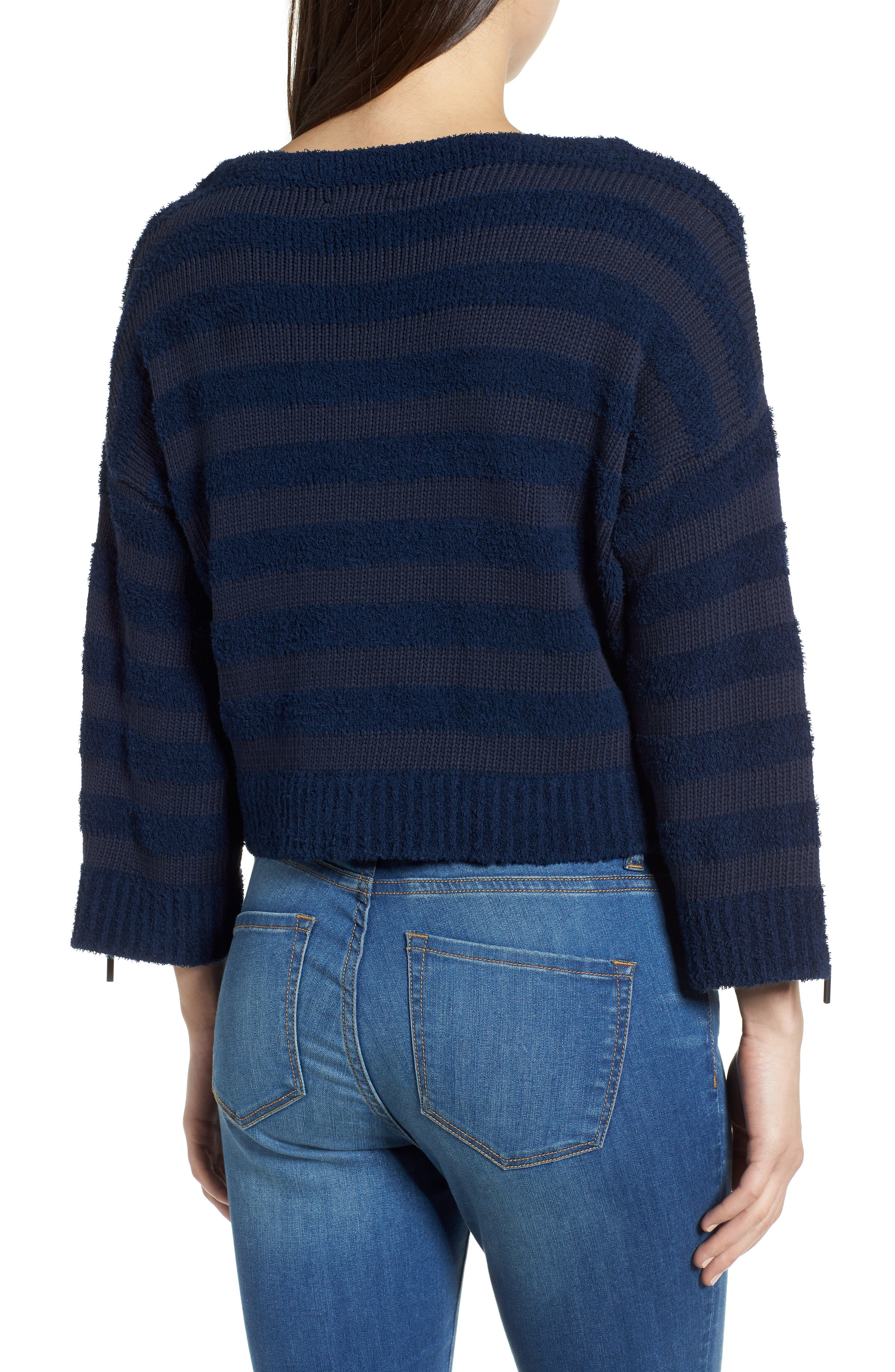 Zip Sleeve Stripe Sweater,                             Alternate thumbnail 2, color,                             Indigo