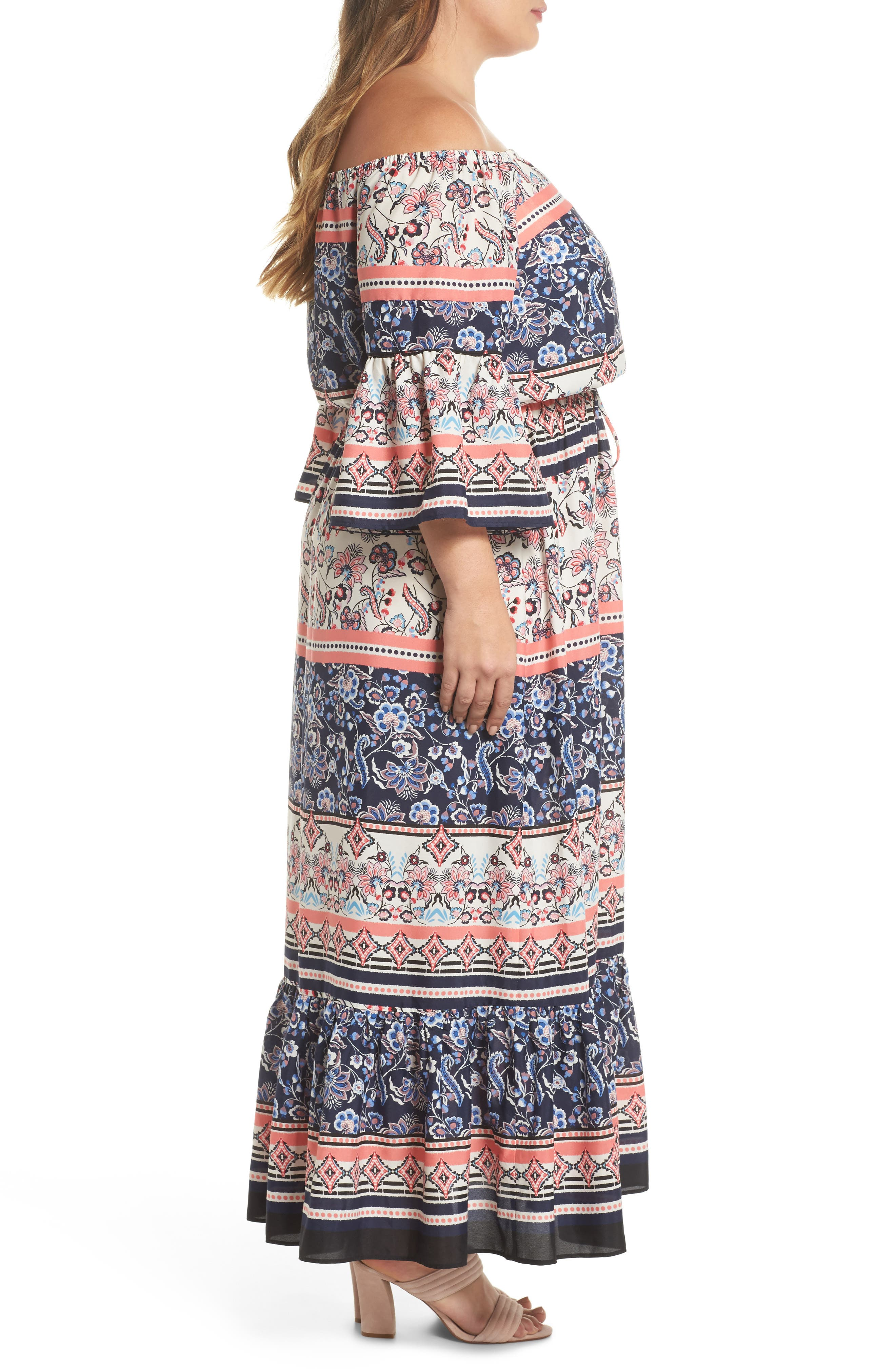 Print Off the Shoulder Maxi Dress,                             Alternate thumbnail 3, color,                             Navy/ Pink/ Ivory