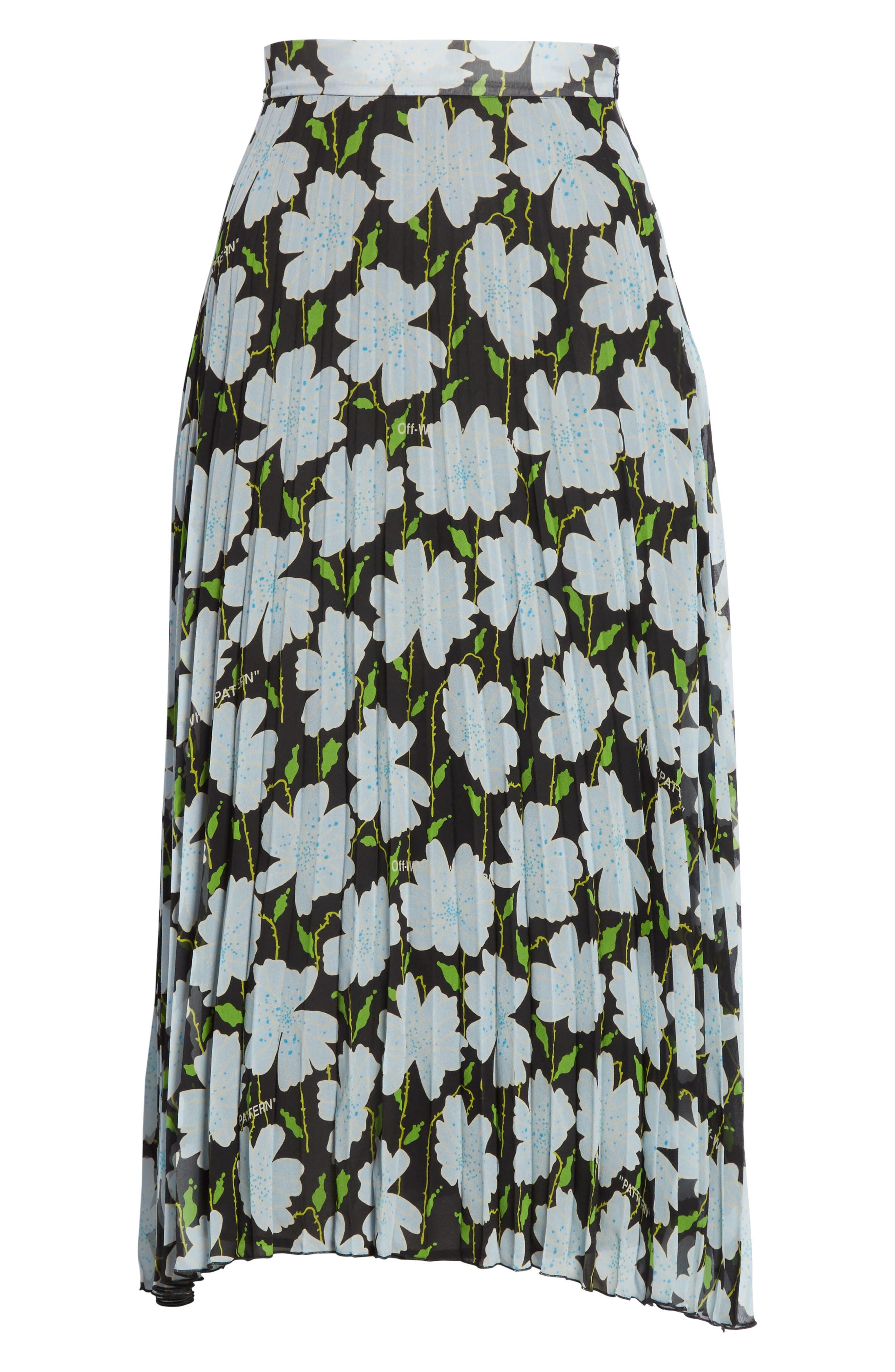 Floral Plissé Silk Skirt,                             Alternate thumbnail 6, color,                             All Over/ No Color