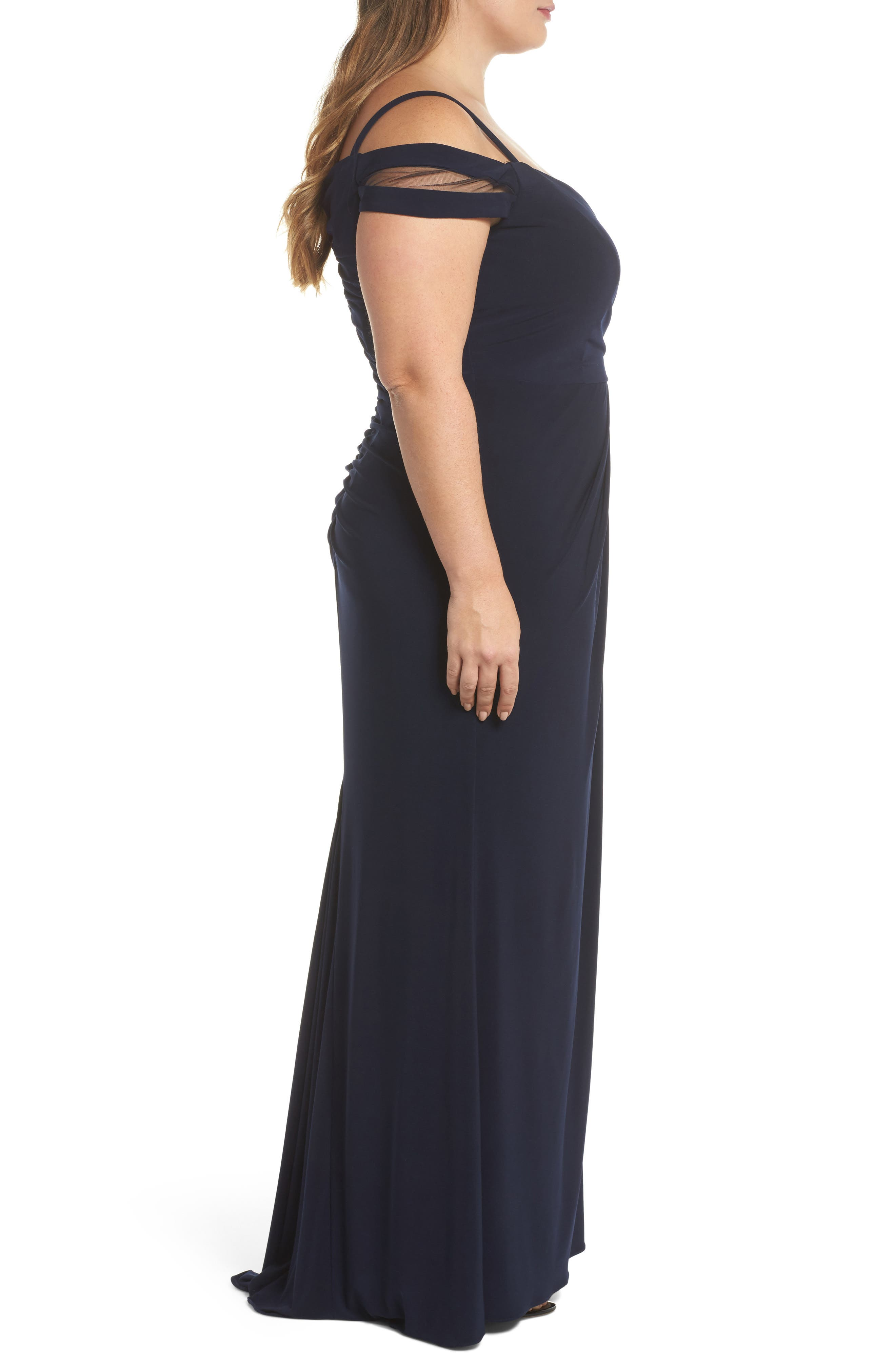 Off the Shoulder Gown,                             Alternate thumbnail 3, color,                             Navy