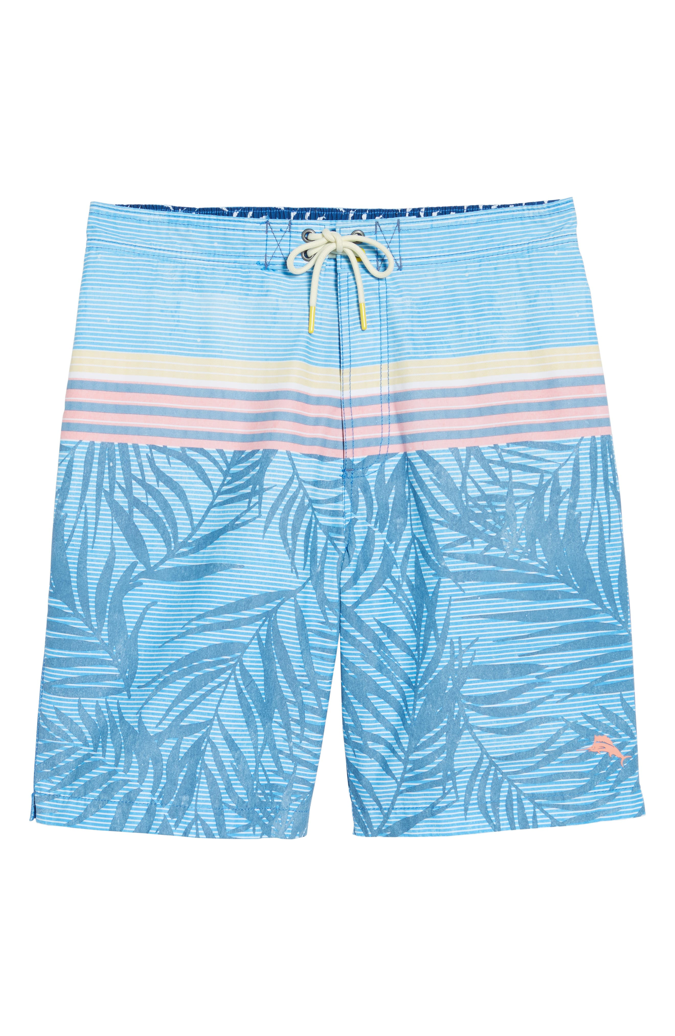 Baja Fronds & Stripes Board Shorts,                             Alternate thumbnail 6, color,                             Dockside Blue