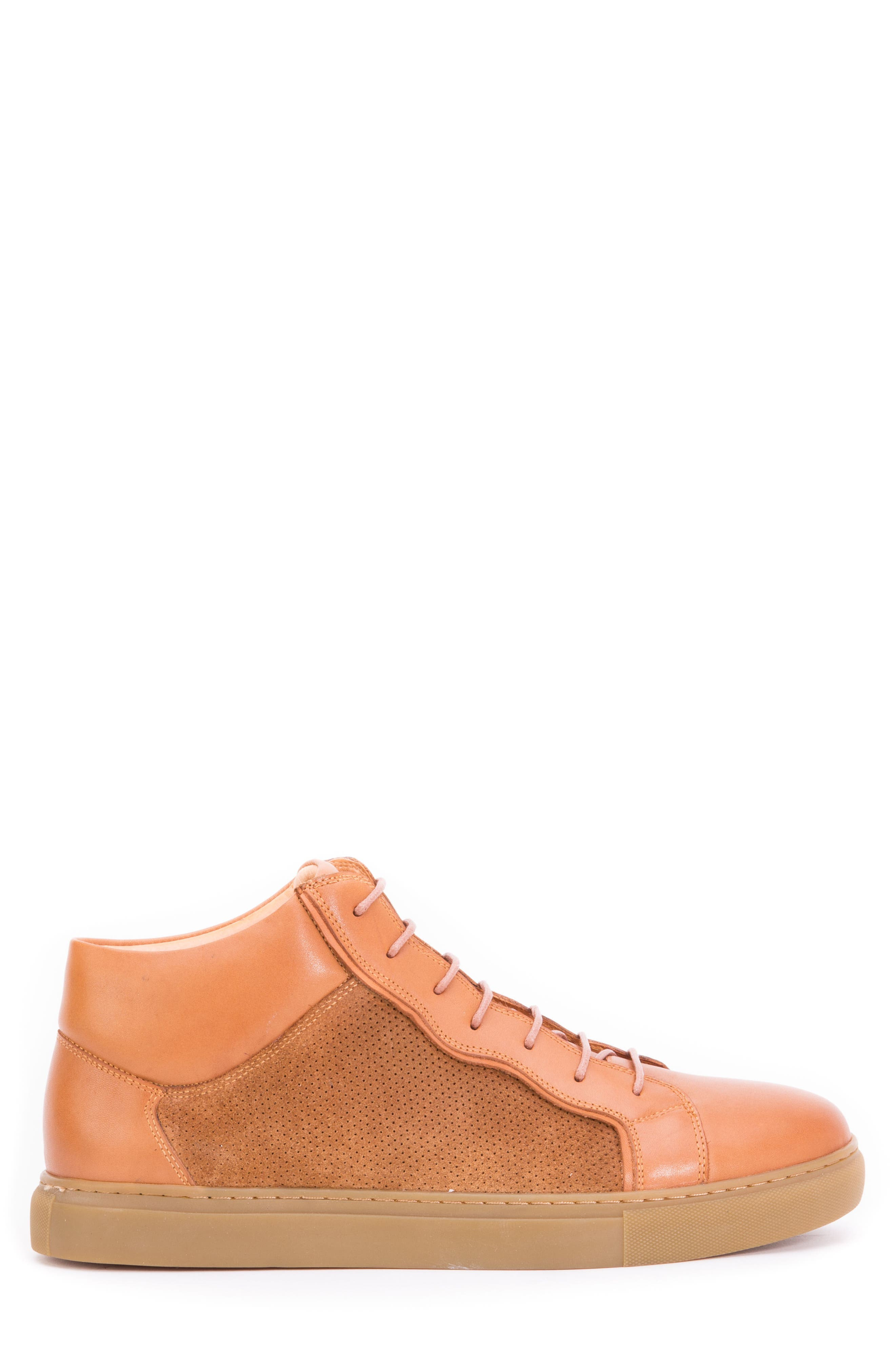 Twist Perforated High Top Sneaker,                             Alternate thumbnail 2, color,                             Cognac Leather/ Suede