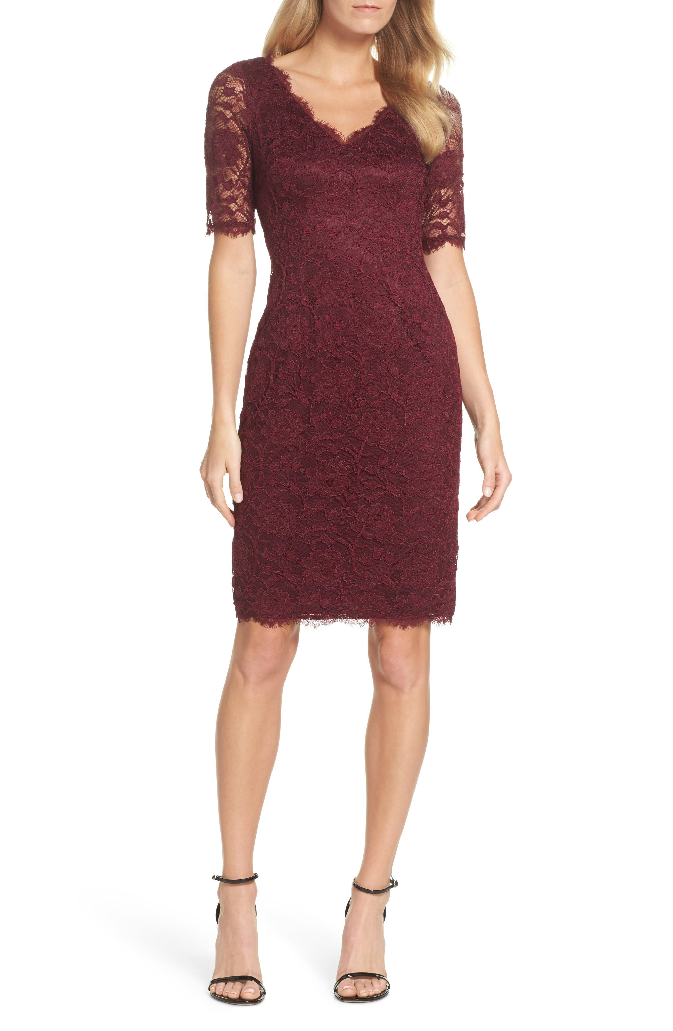 Rose Lace Sheath Dress,                             Main thumbnail 1, color,                             Cabernet