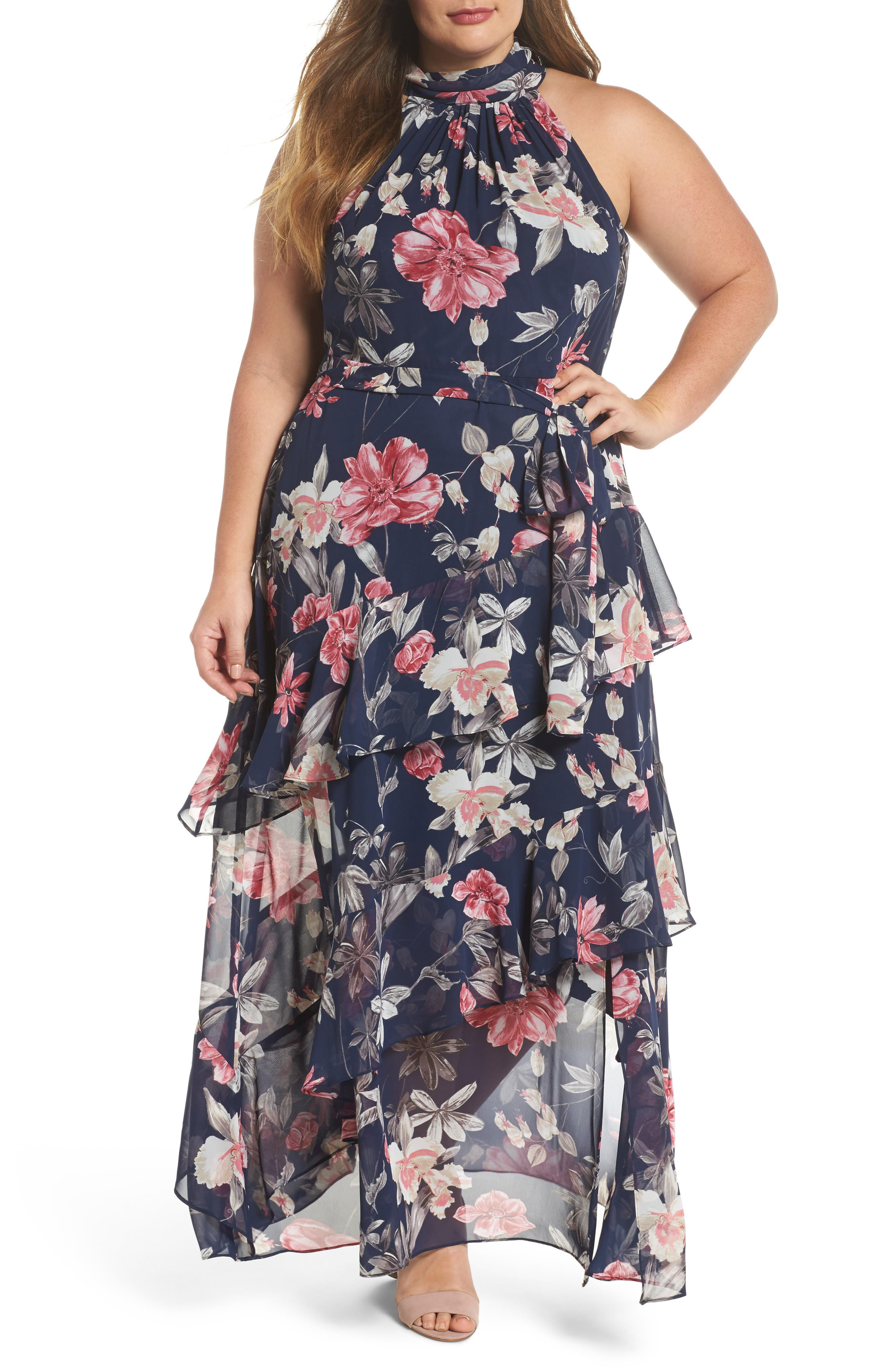 Halter Neck Chiffon Gown,                         Main,                         color, Navy/ Pink