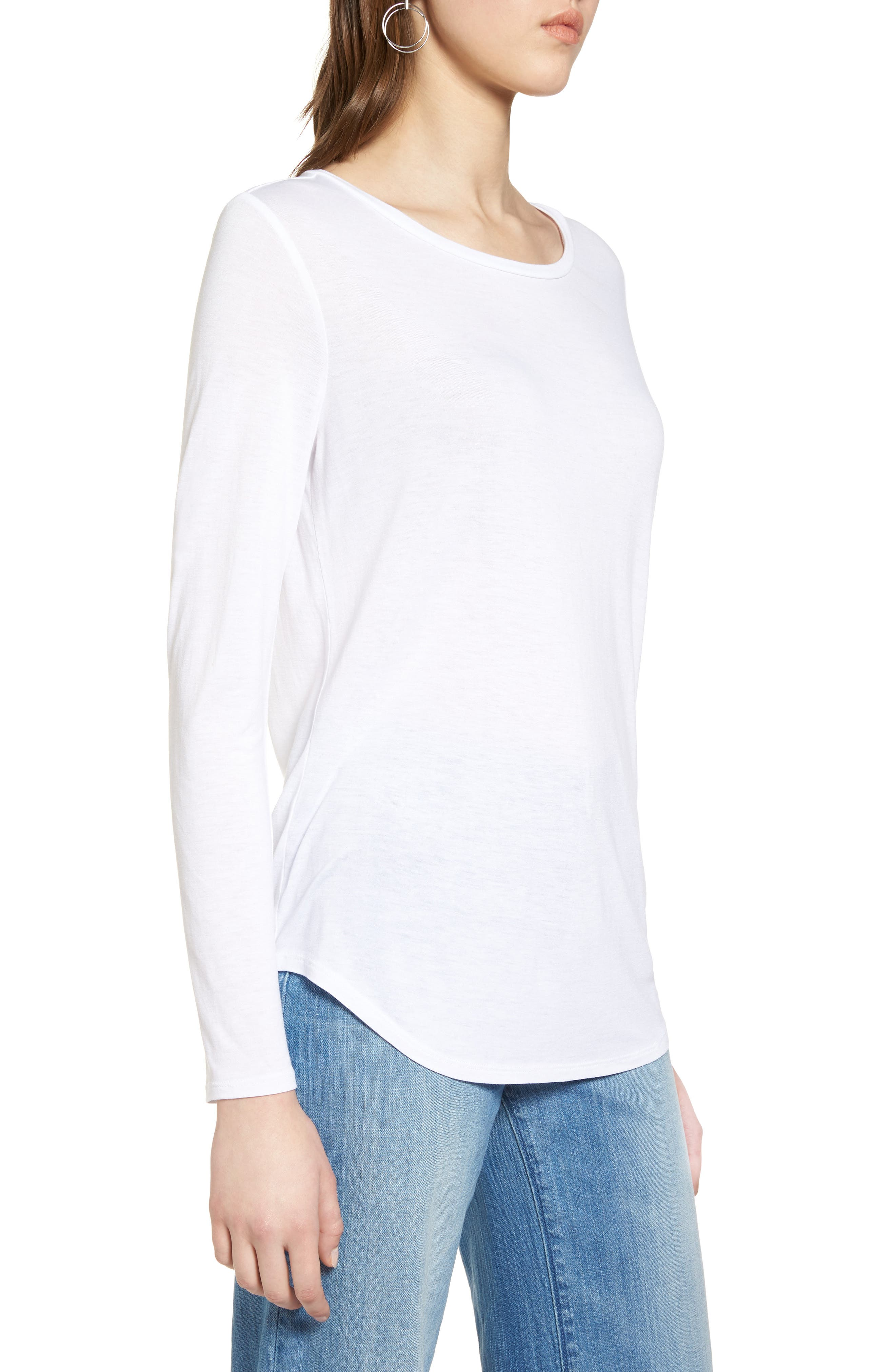 Shirttail Tee,                             Alternate thumbnail 3, color,                             Ivory Cloud