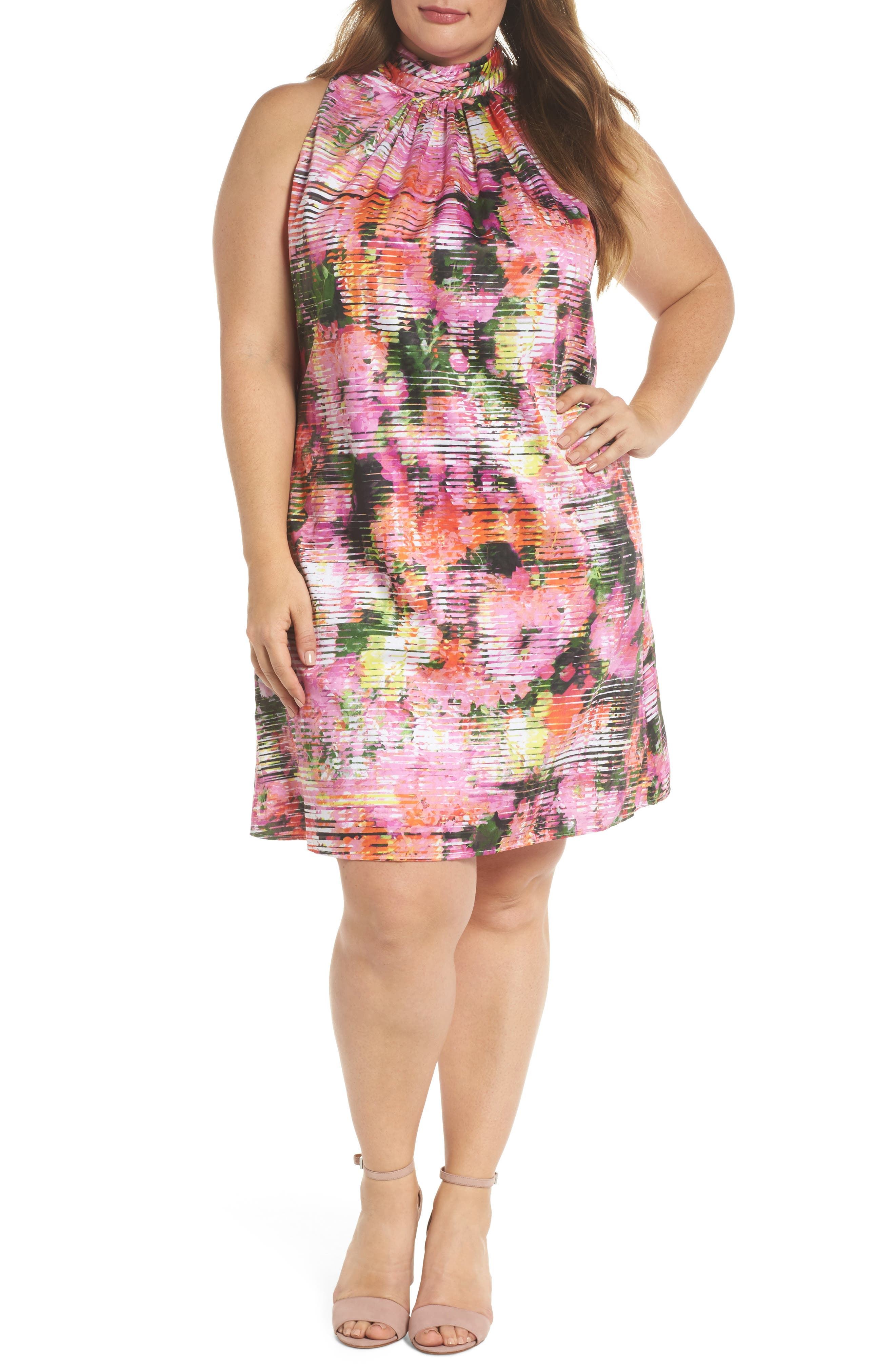 Main Image - London Times Back Bow Halter Dress (Plus Size)