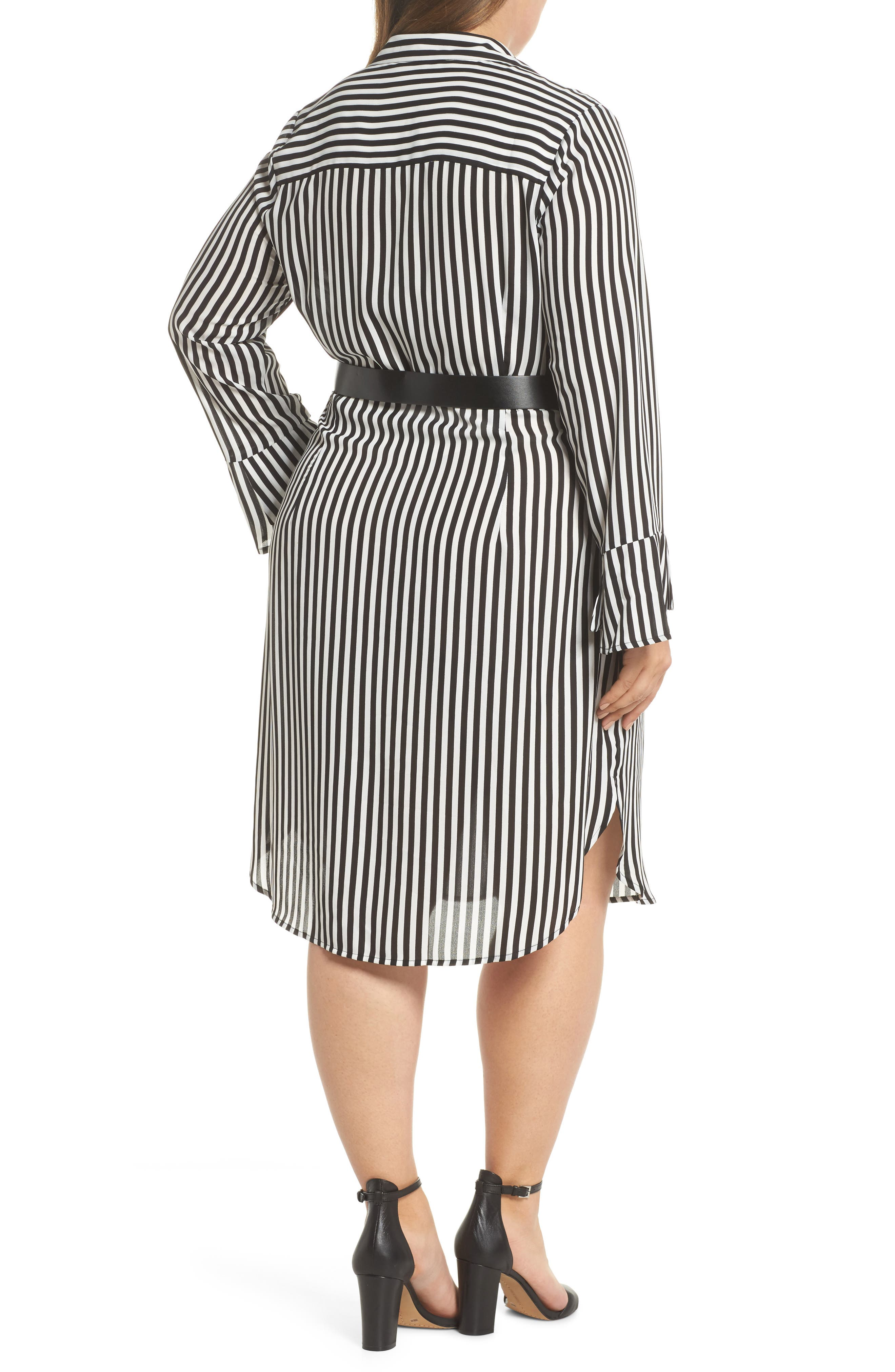 Alternate Image 2  - LOST INK Belted Stripe Shirtdress (Plus Size)