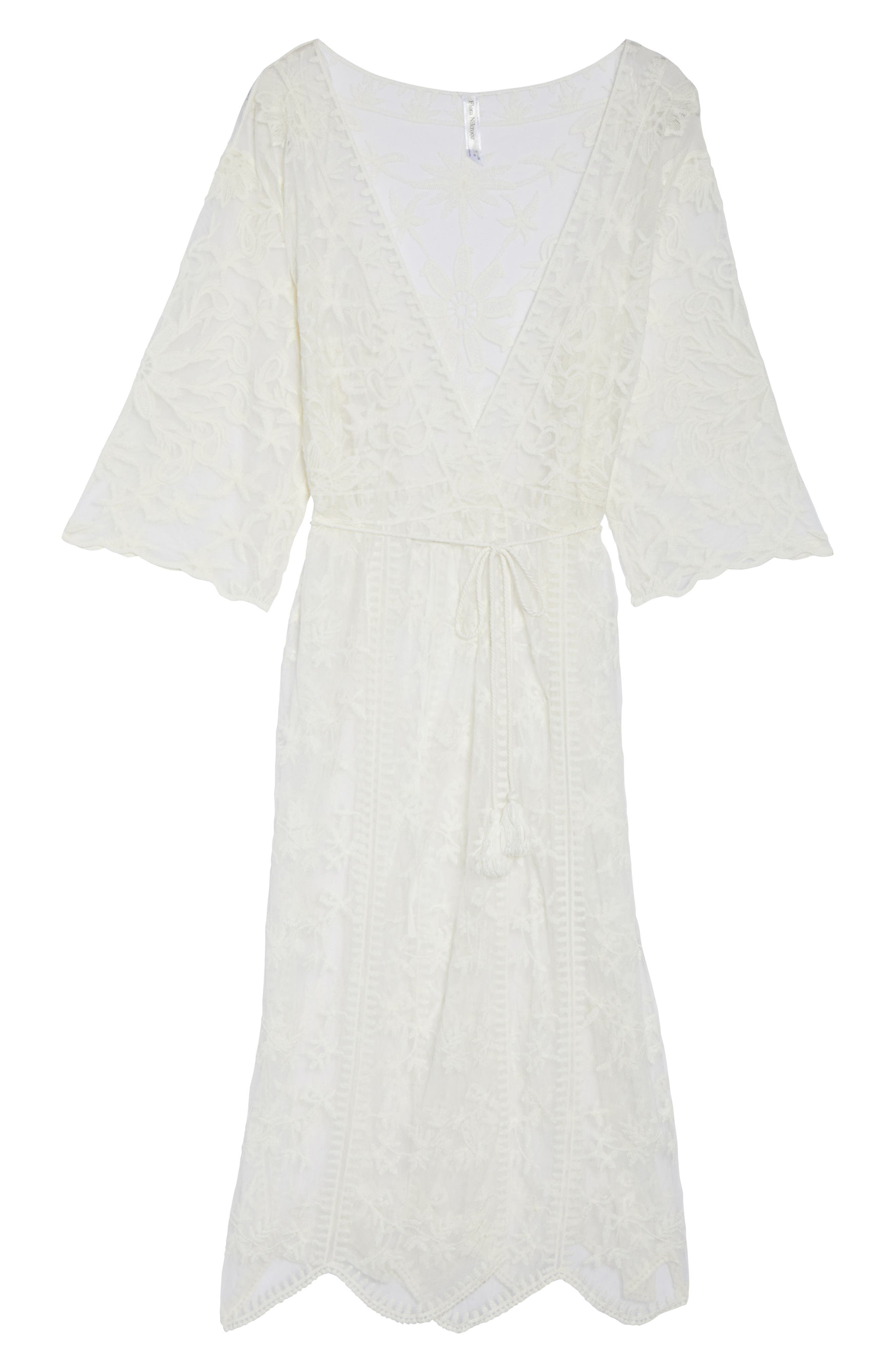 Tracey Embroidered Robe,                             Alternate thumbnail 4, color,                             Ivory