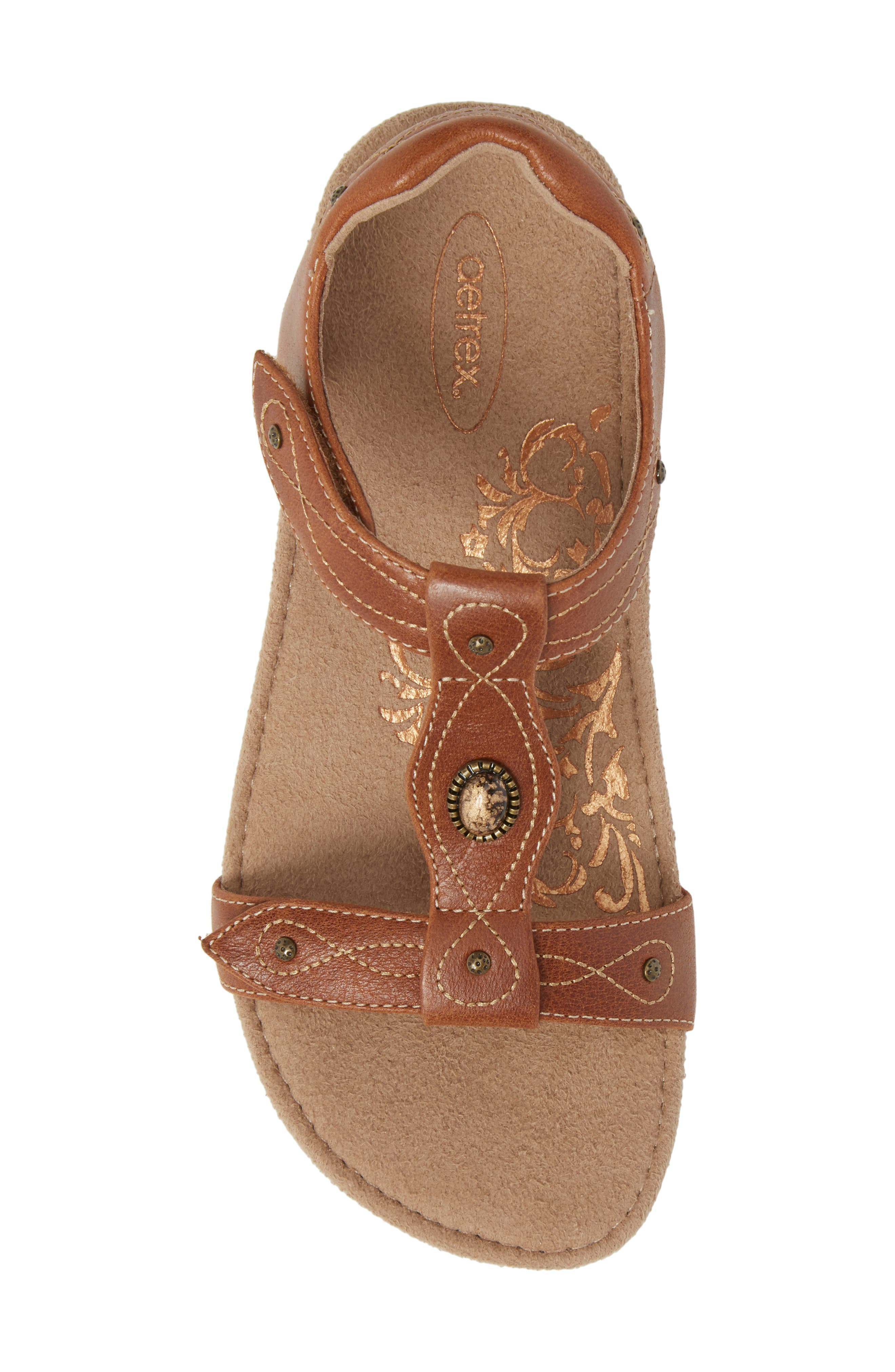 'Lori' Sandal,                             Alternate thumbnail 5, color,                             Cognac Leather