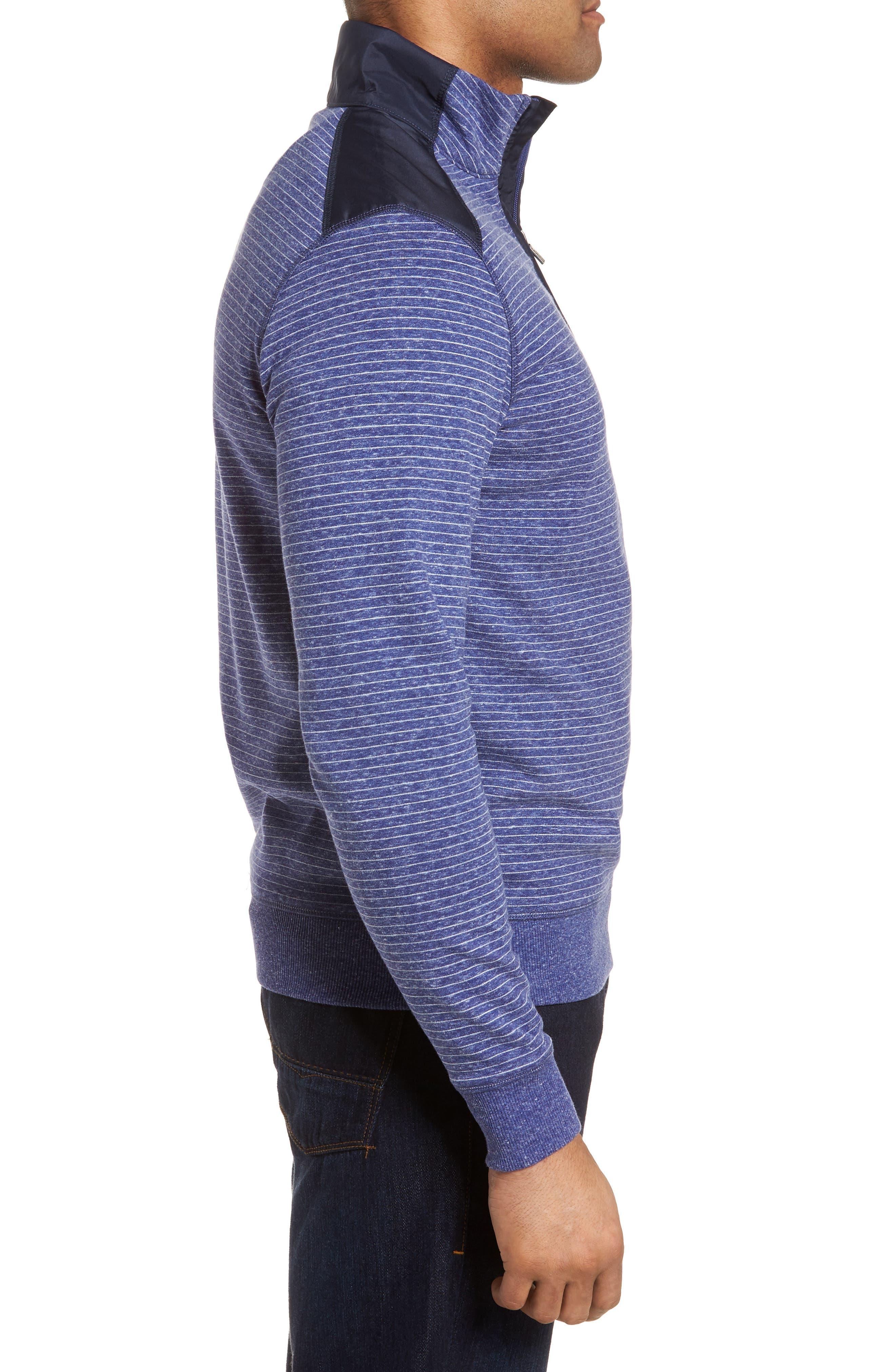 Regular Fit Stripe Quarter Zip Pullover,                             Alternate thumbnail 3, color,                             Night Blue