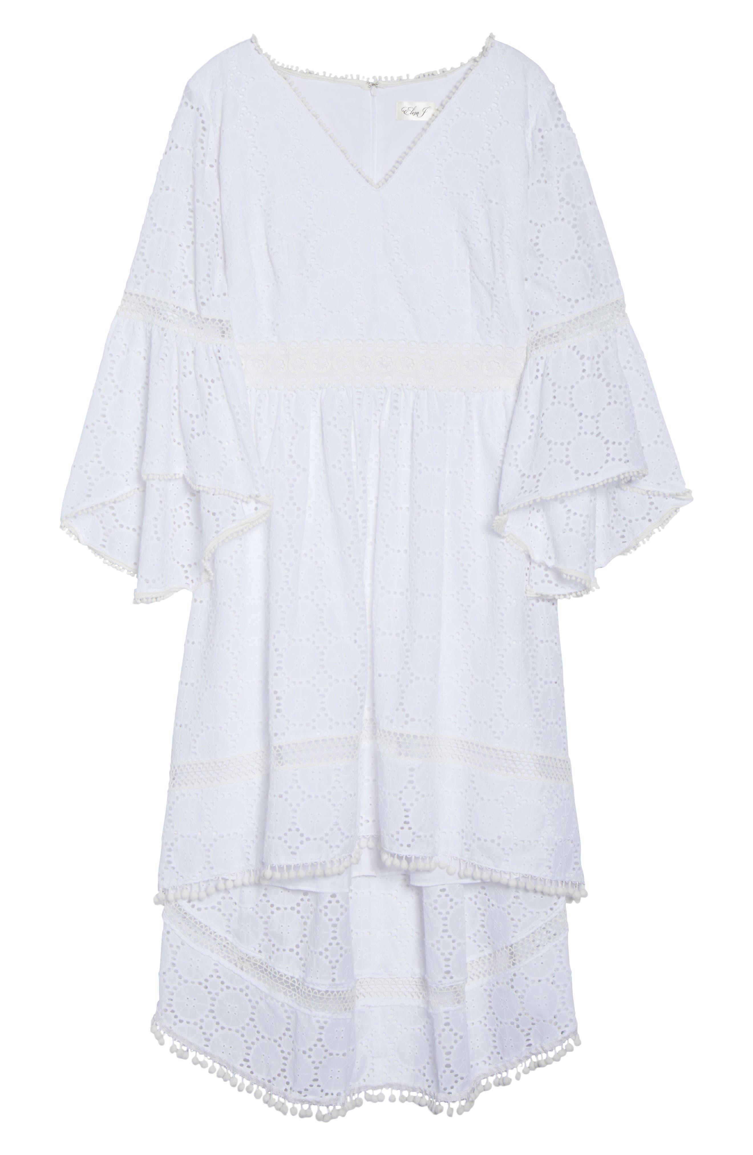 Bell Sleeve High/Low Eyelet Dress,                             Alternate thumbnail 6, color,                             Ivory
