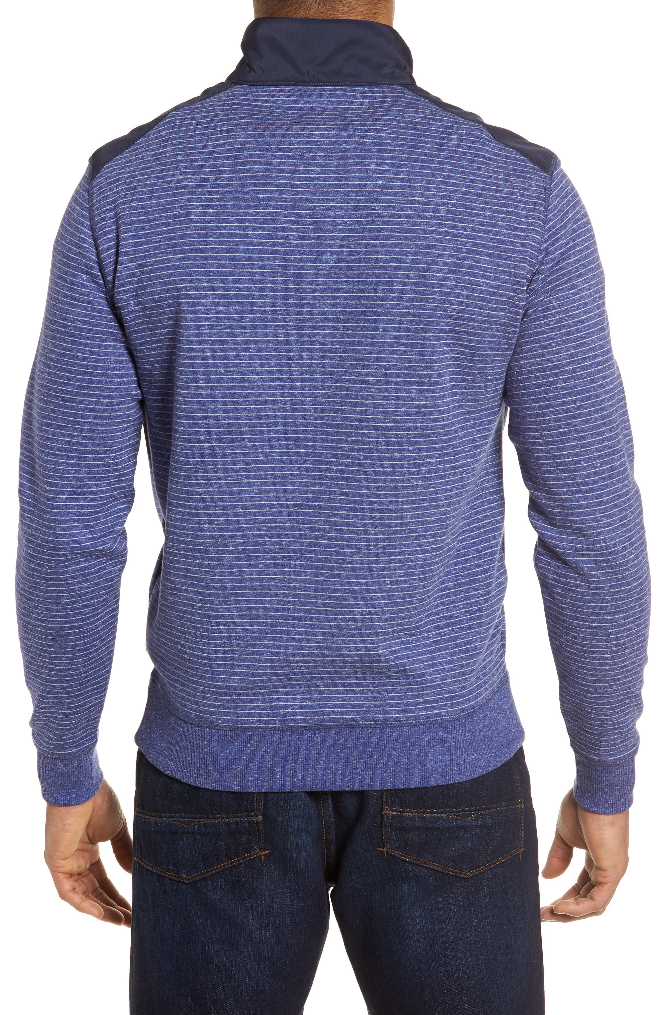 Regular Fit Stripe Quarter Zip Pullover,                             Alternate thumbnail 2, color,                             Night Blue