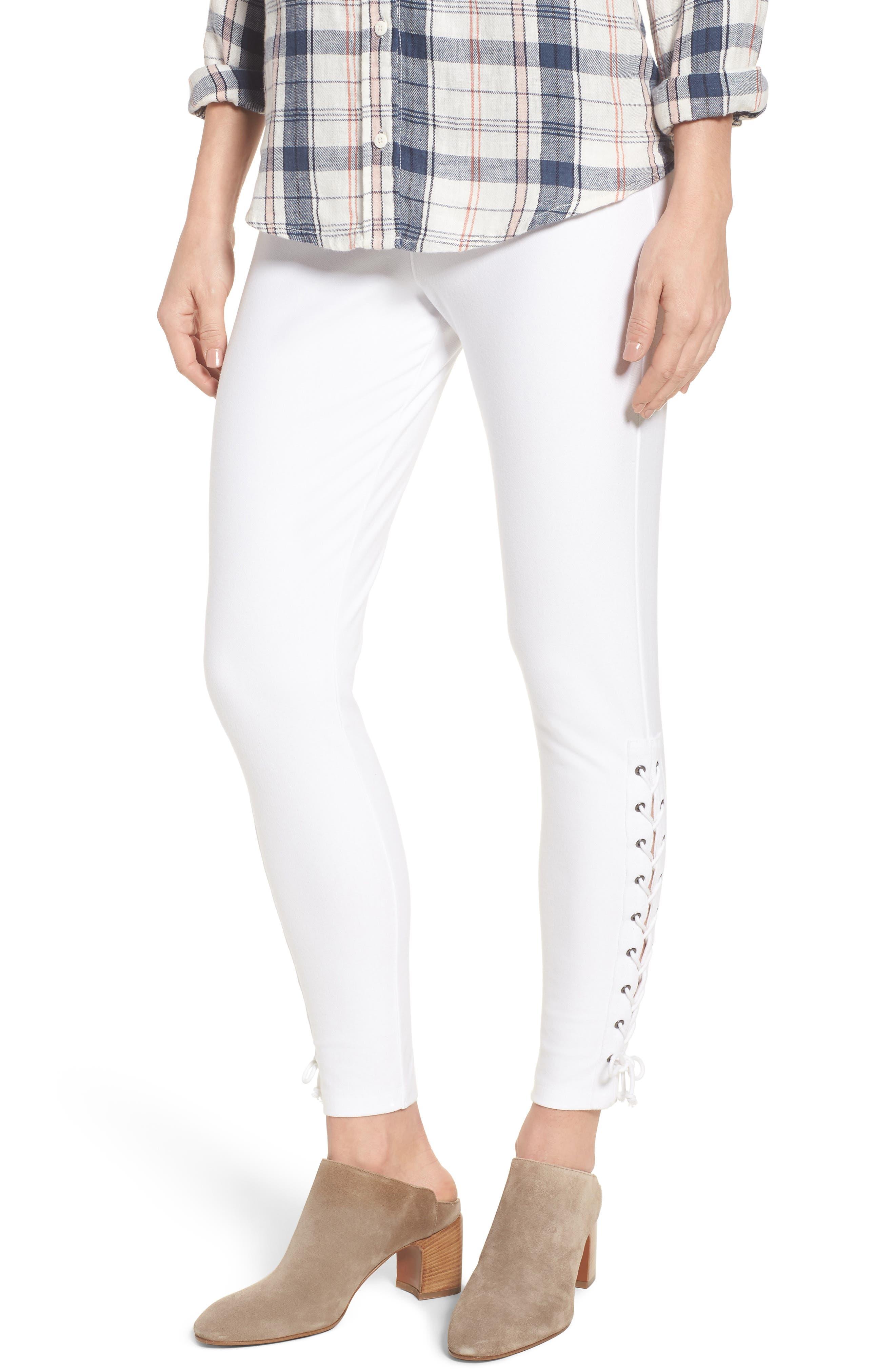 Lace-Up Denim Leggings,                         Main,                         color, White