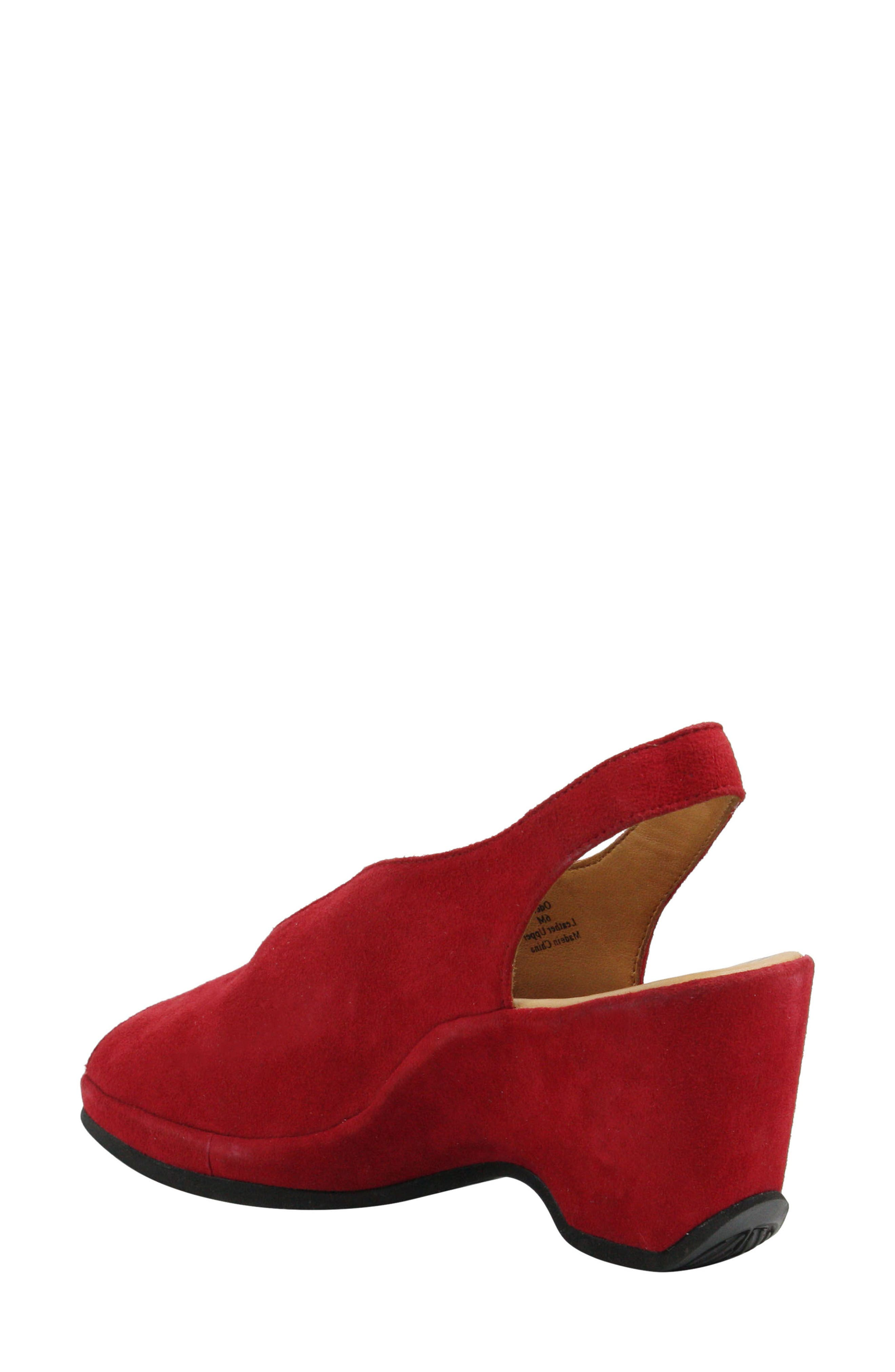 Odetta Slingback Wedge,                             Alternate thumbnail 2, color,                             Bright Red Suede