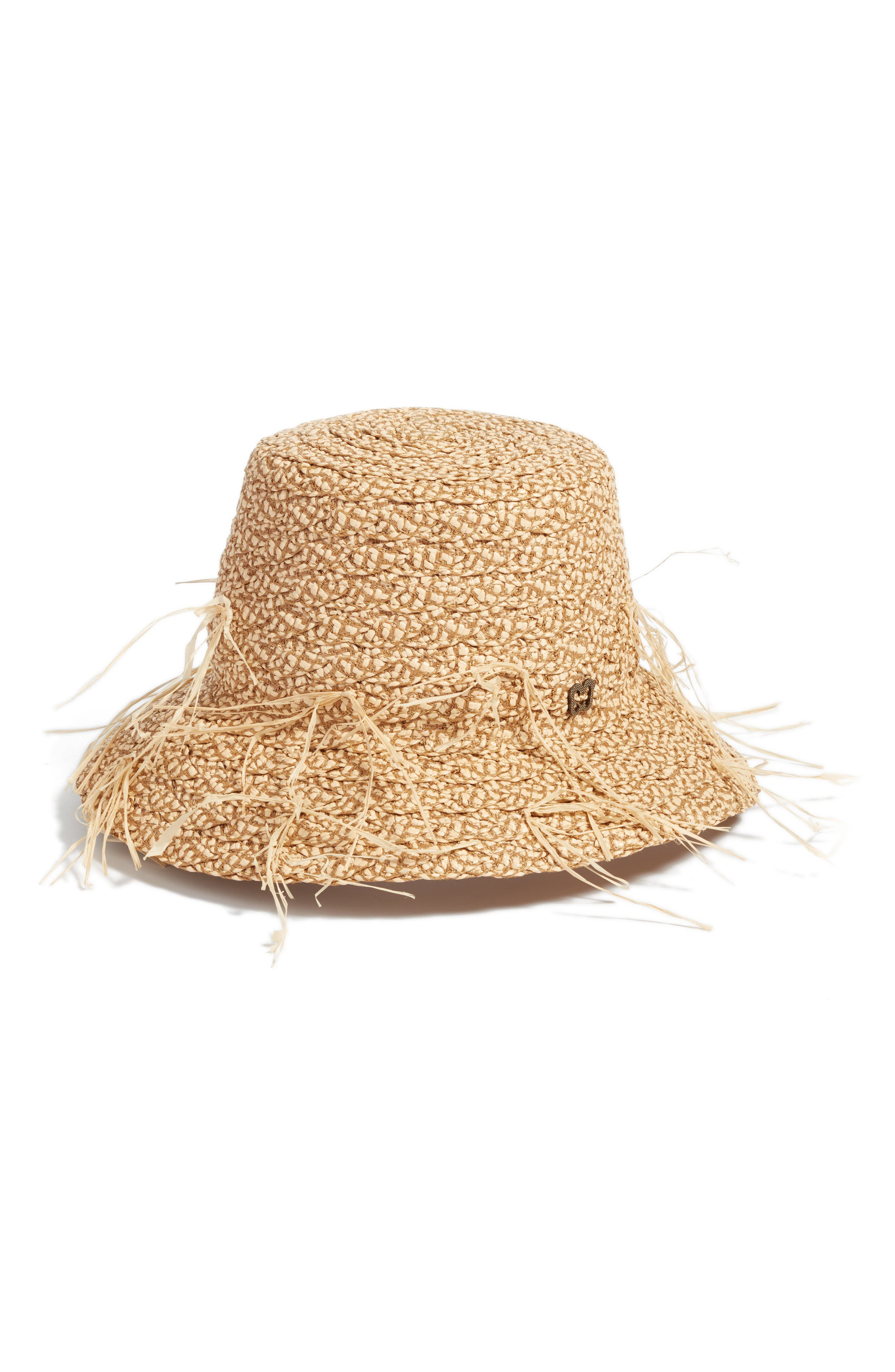 Valeria Squishee<sup>®</sup> Straw Bucket Hat,                             Main thumbnail 1, color,                             Peanut
