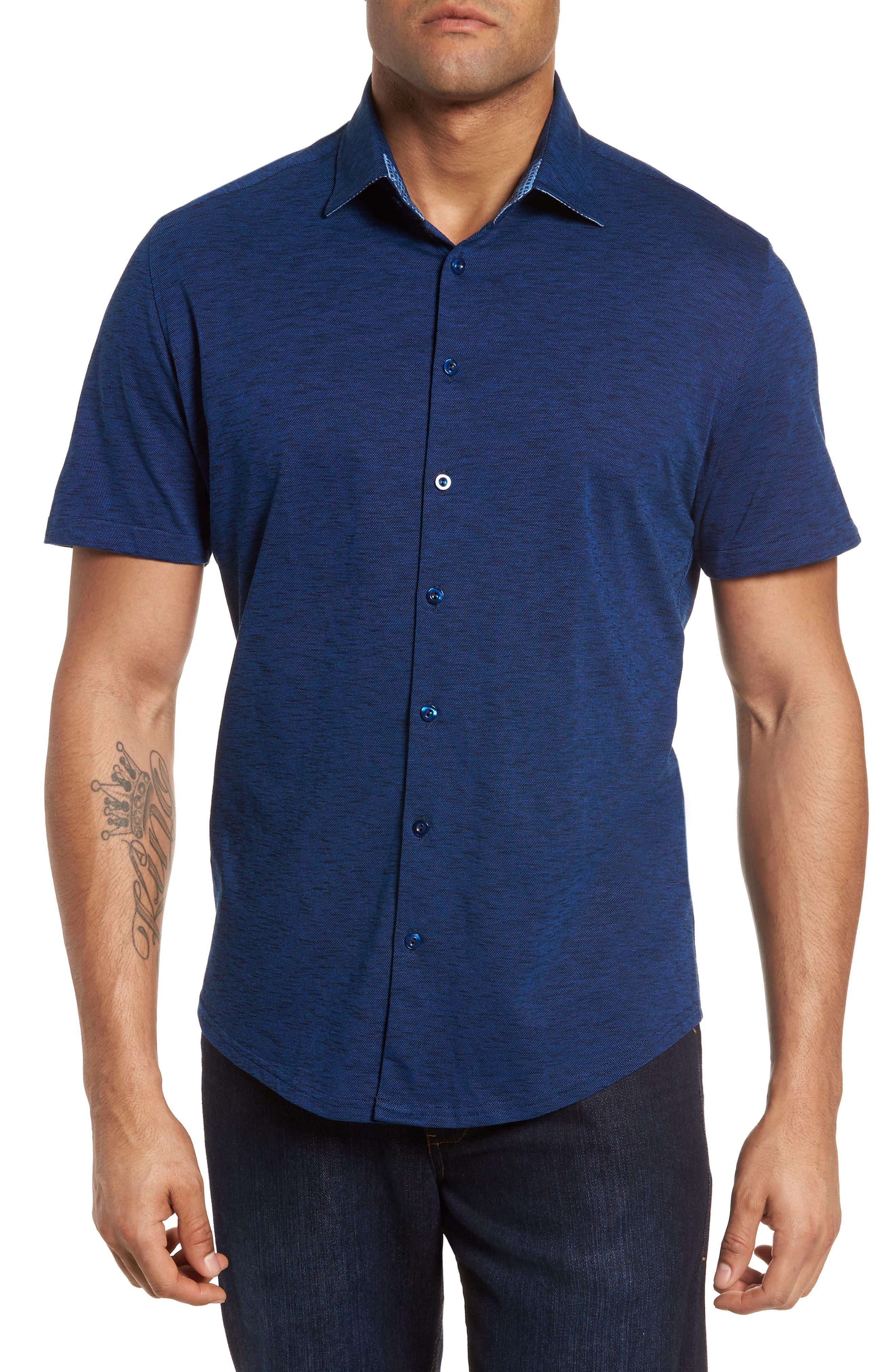 Slim Fit Flame Knit Sport Shirt,                         Main,                         color, Navy